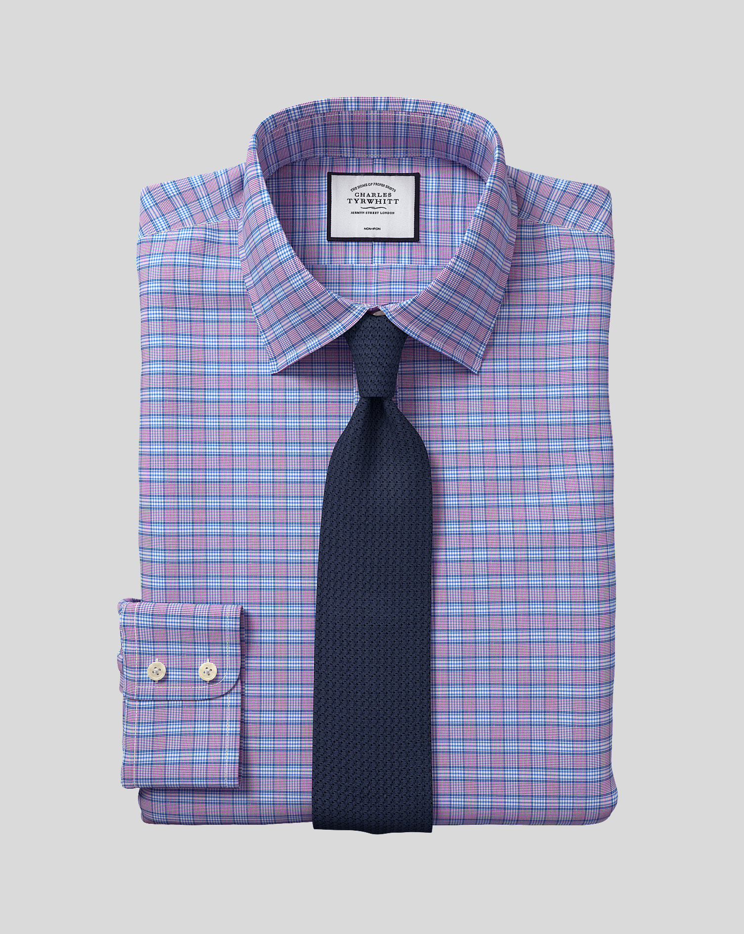 Cotton Classic Collar Non-Iron Prince Of Wales Check Shirt - Purple & Blue