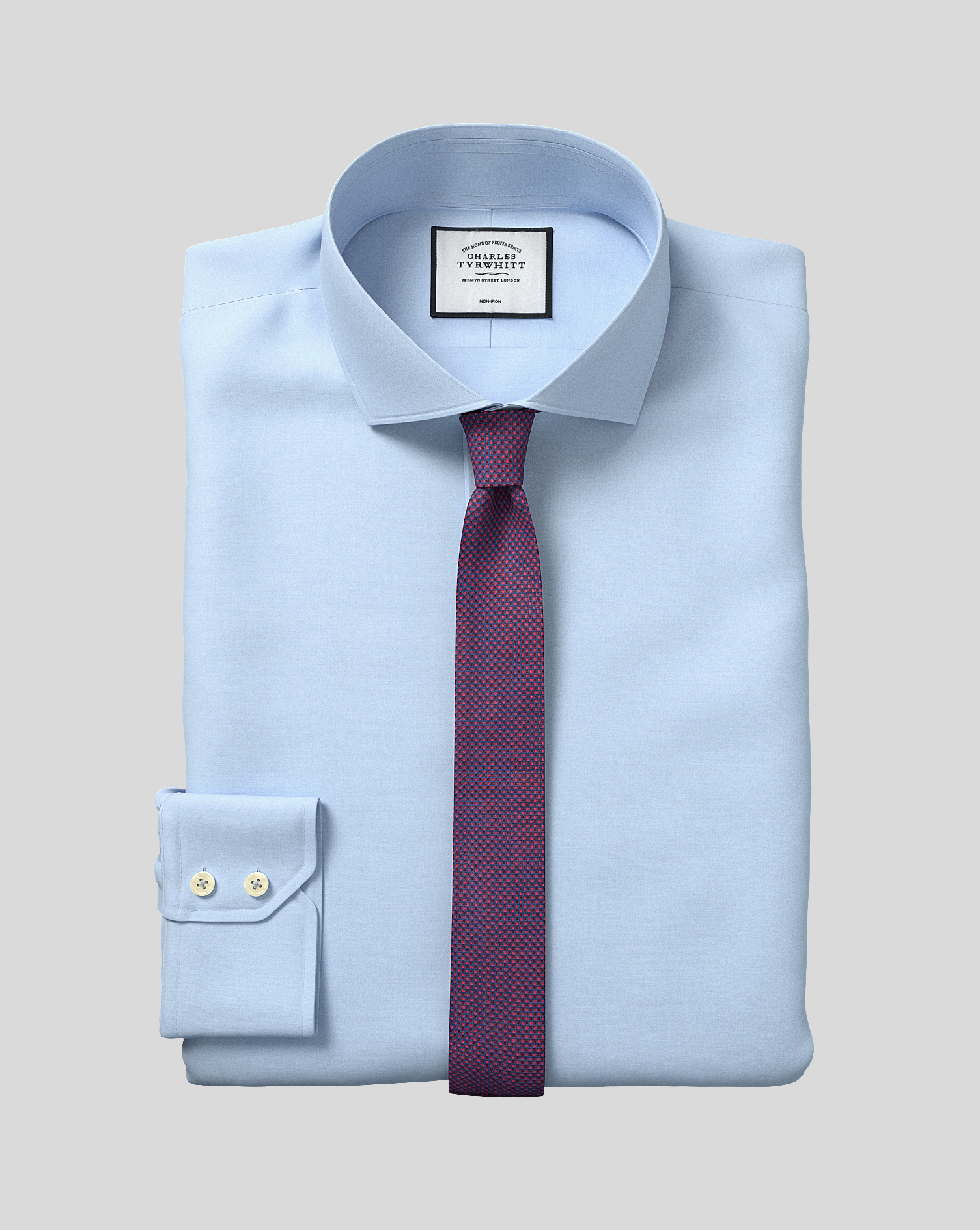 Extra Slim Fit Non-Iron Cutaway Sky Blue Tyrwhitt Cool Cotton Formal Shirt Single Cuff Size 16.5/33