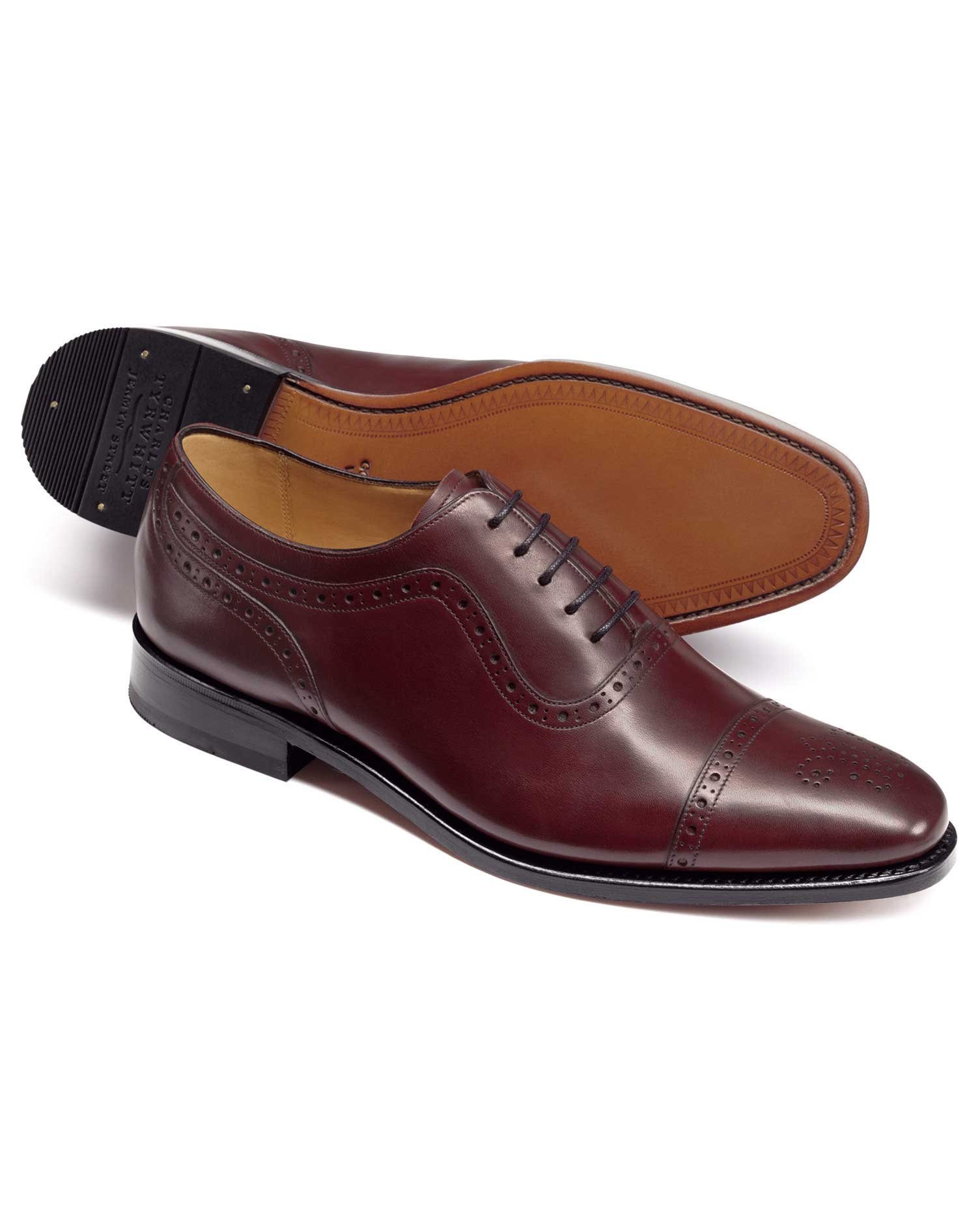 Burgundy Goodyear Welted Oxford Brogue Shoes Size 10 R by Charles Tyrwhitt