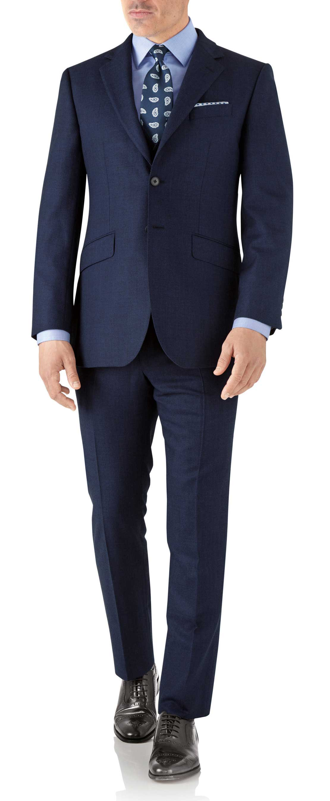 Veste de costume business bleu roi slim fit en flanelle