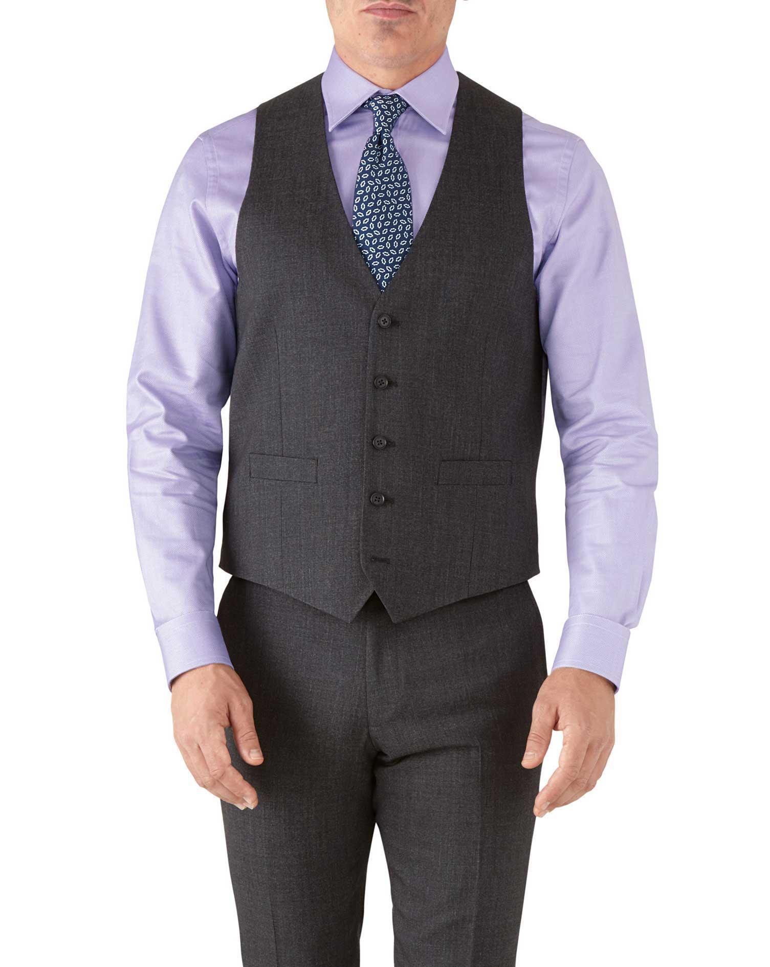 Charcoal adjustable fit hairline business suit waistcoat