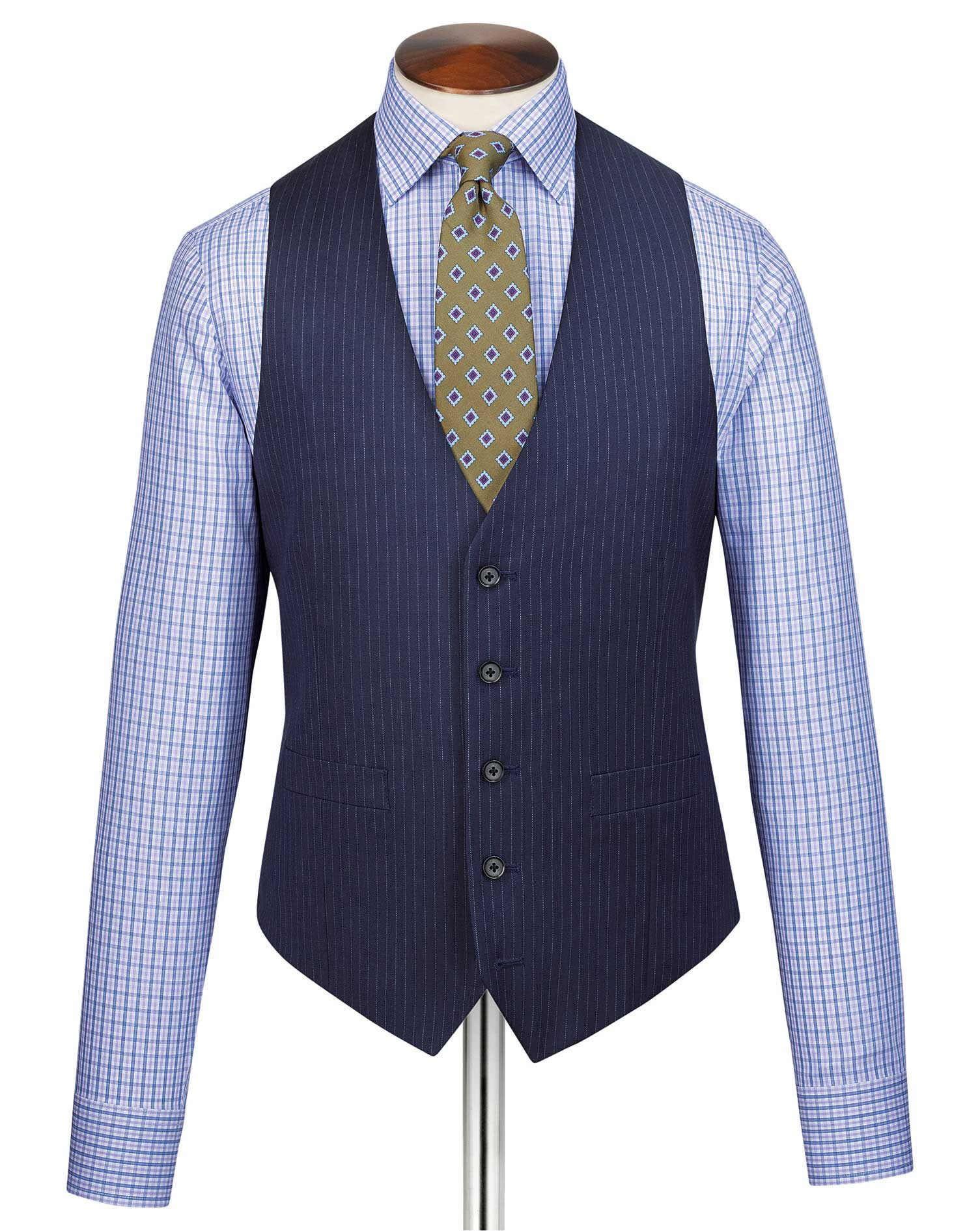 Blue adjustable fit twill stripe business suit waistcoat