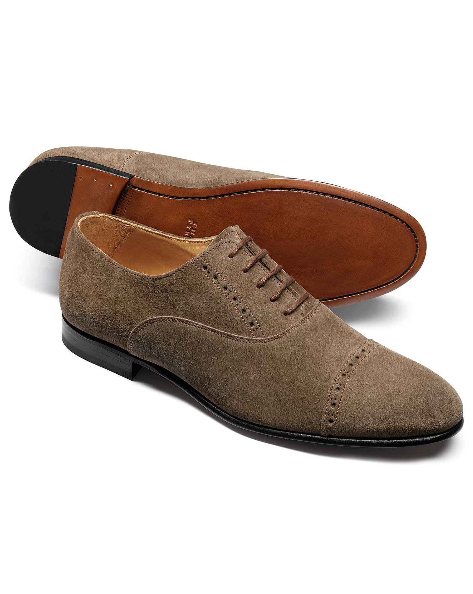 Taupe Suede Oxford Brogue Shoe Size 11 R by Charles Tyrwhitt