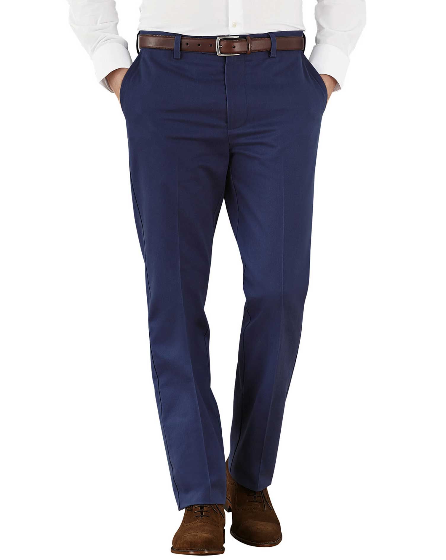 Marine Blue Slim Fit Flat Front Non-Iron Cotton Chino Trousers Size W34 L29 by Charles Tyrwhitt
