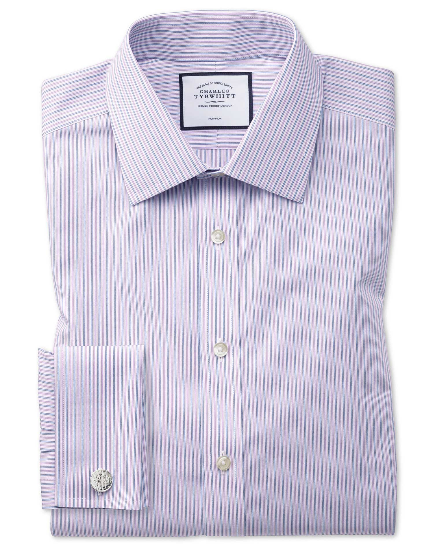 Extra Slim Fit Non-Iron Lilac and Blue Multi Stripe Cotton Formal Shirt Single Cuff Size 14.5/33 by