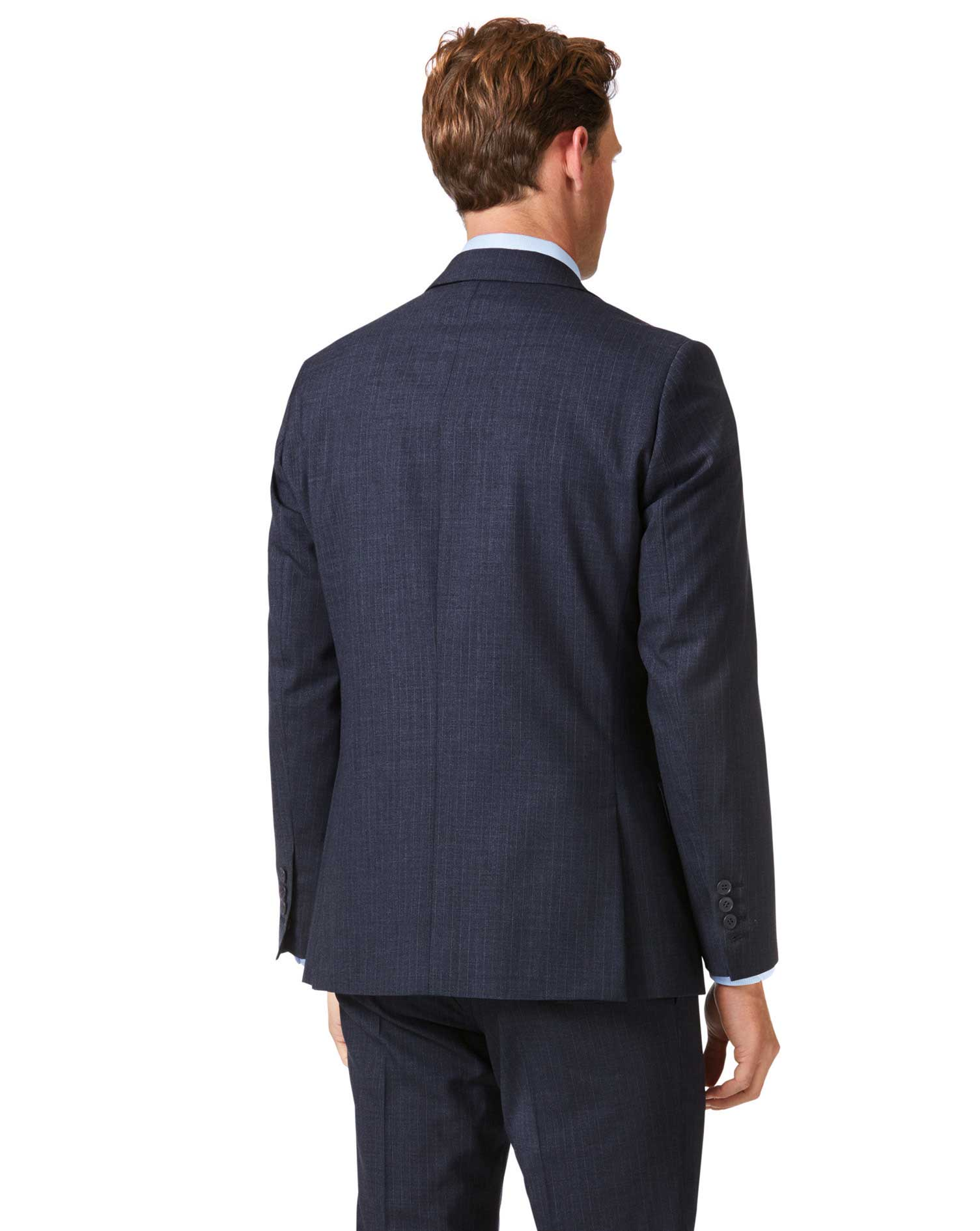 Blue stripe slim fit twist business suit jacket