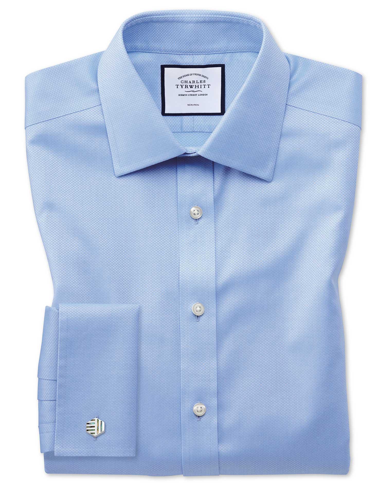 Extra Slim Fit Non-Iron Sky Blue Triangle Weave Cotton Formal Shirt Double Cuff Size 16/35 by Charle