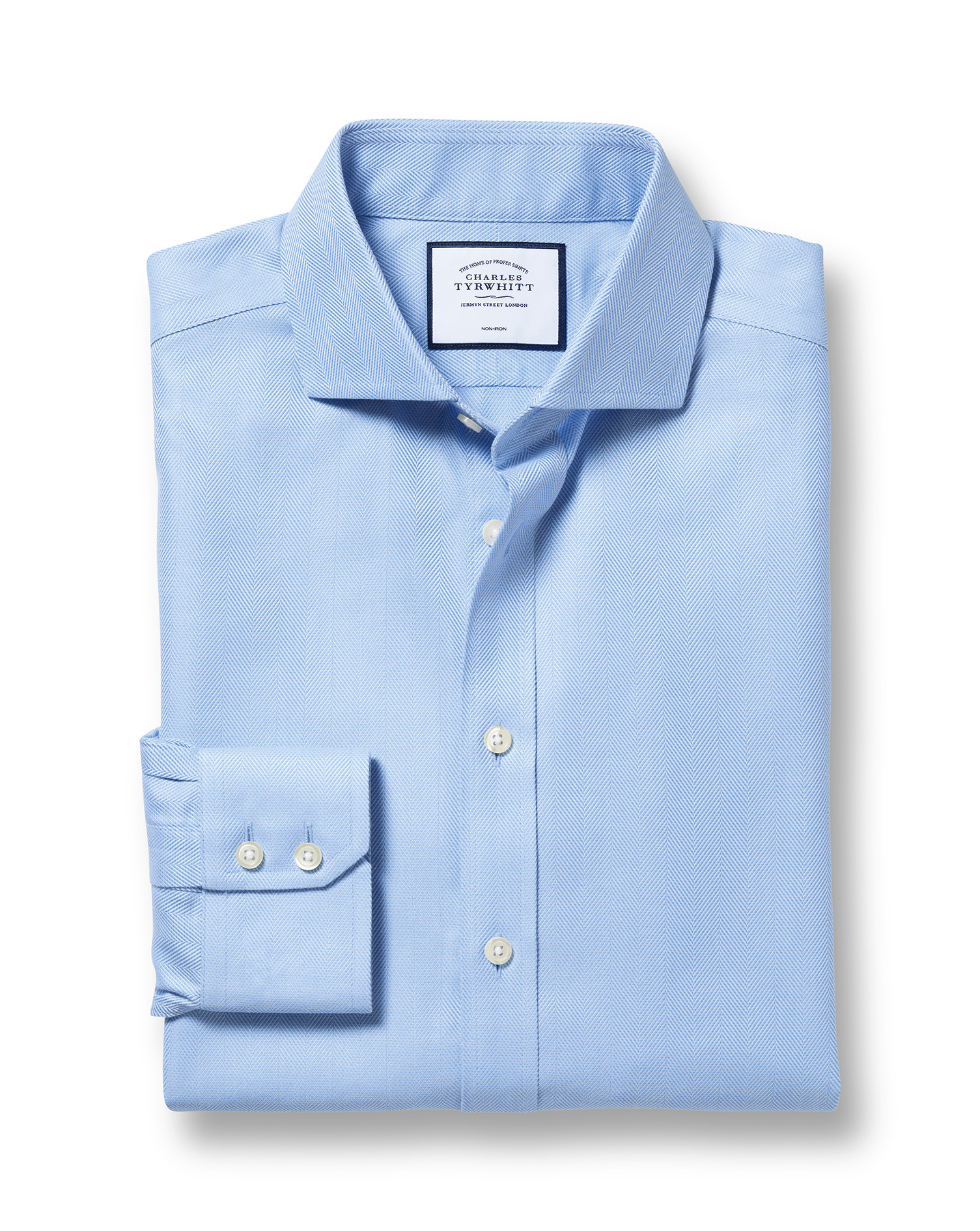 Slim Fit Cutaway Non-Iron Herringbone Sky Blue Cotton Formal Shirt Single Cuff Size 16/32 by Charles