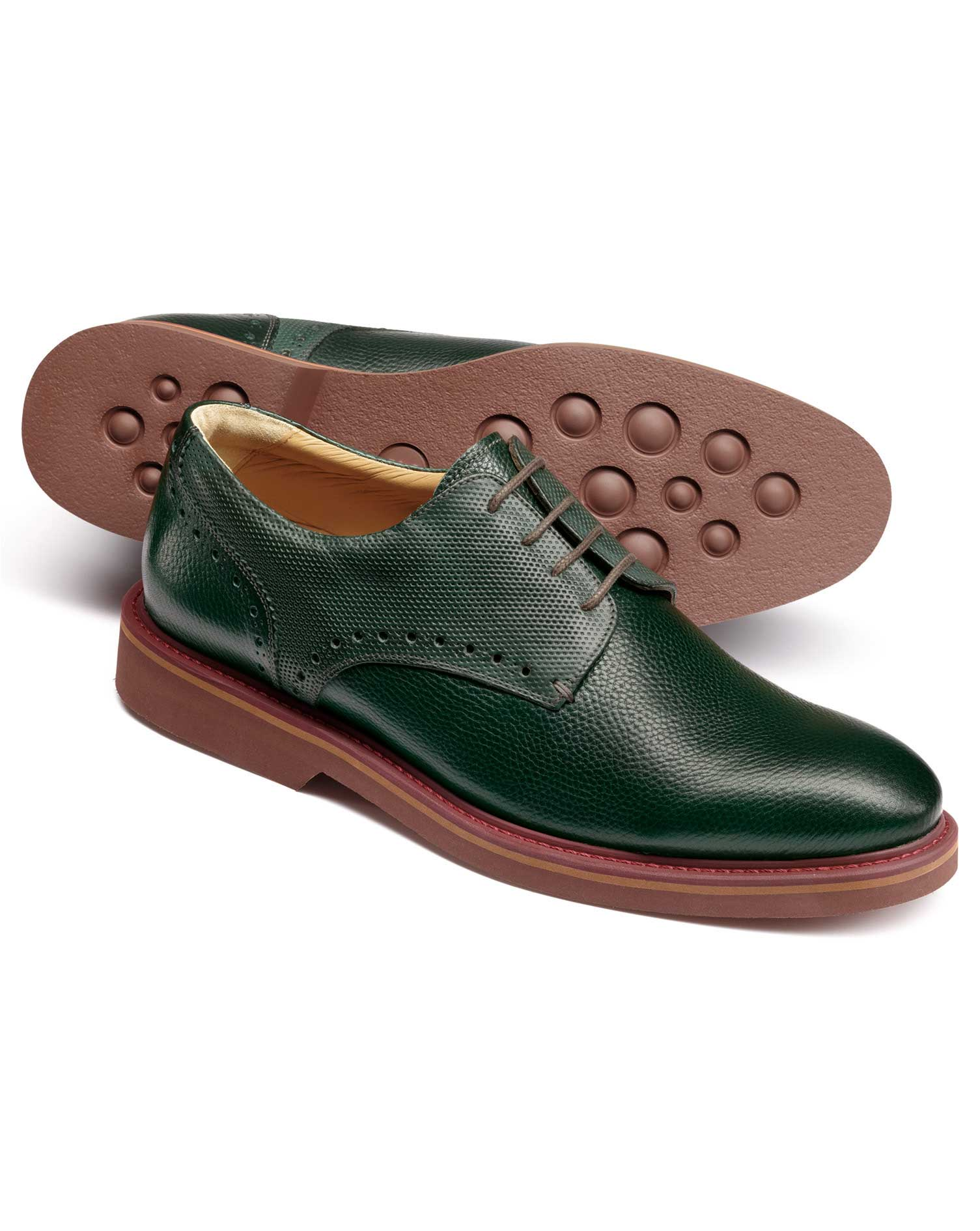 Green Extra Lightweight Derby Shoes Size 6 R by Charles Tyrwhitt