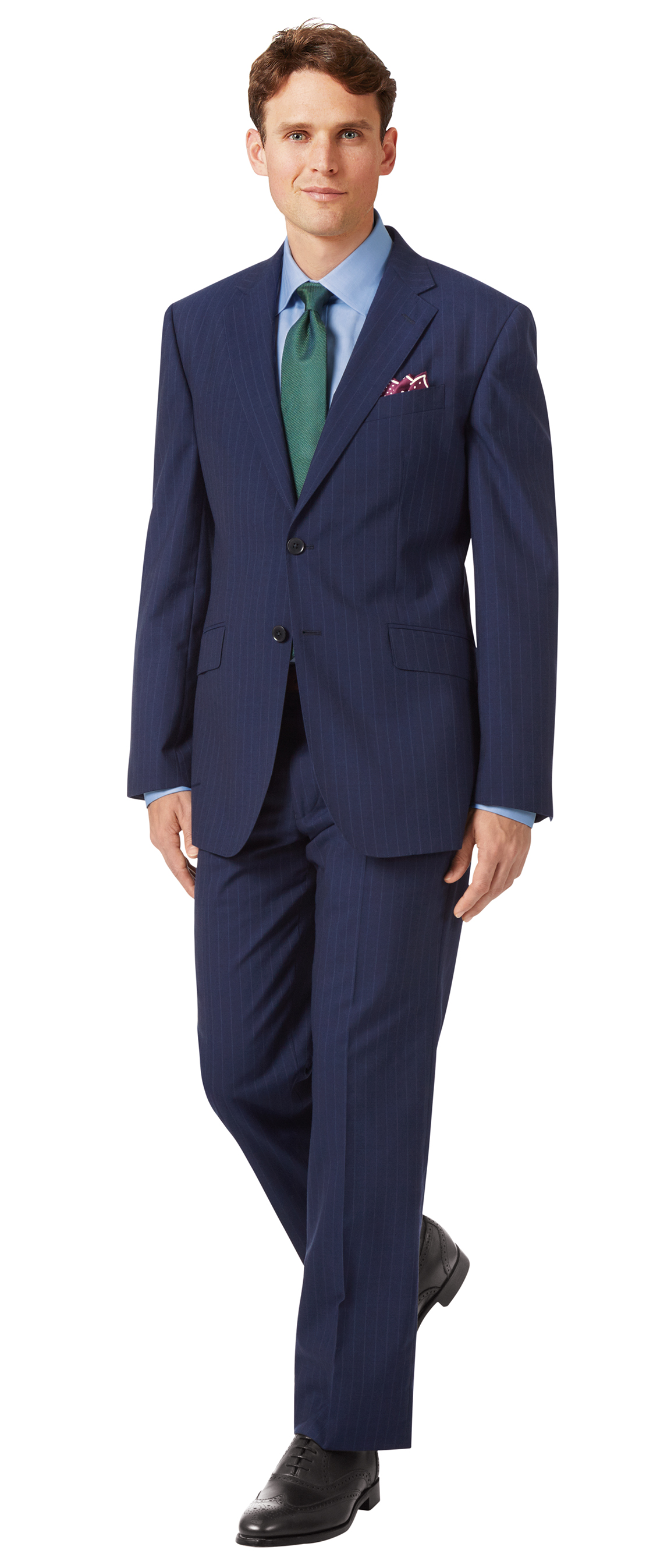 Navy classic fit Panama stripe business suit jacket