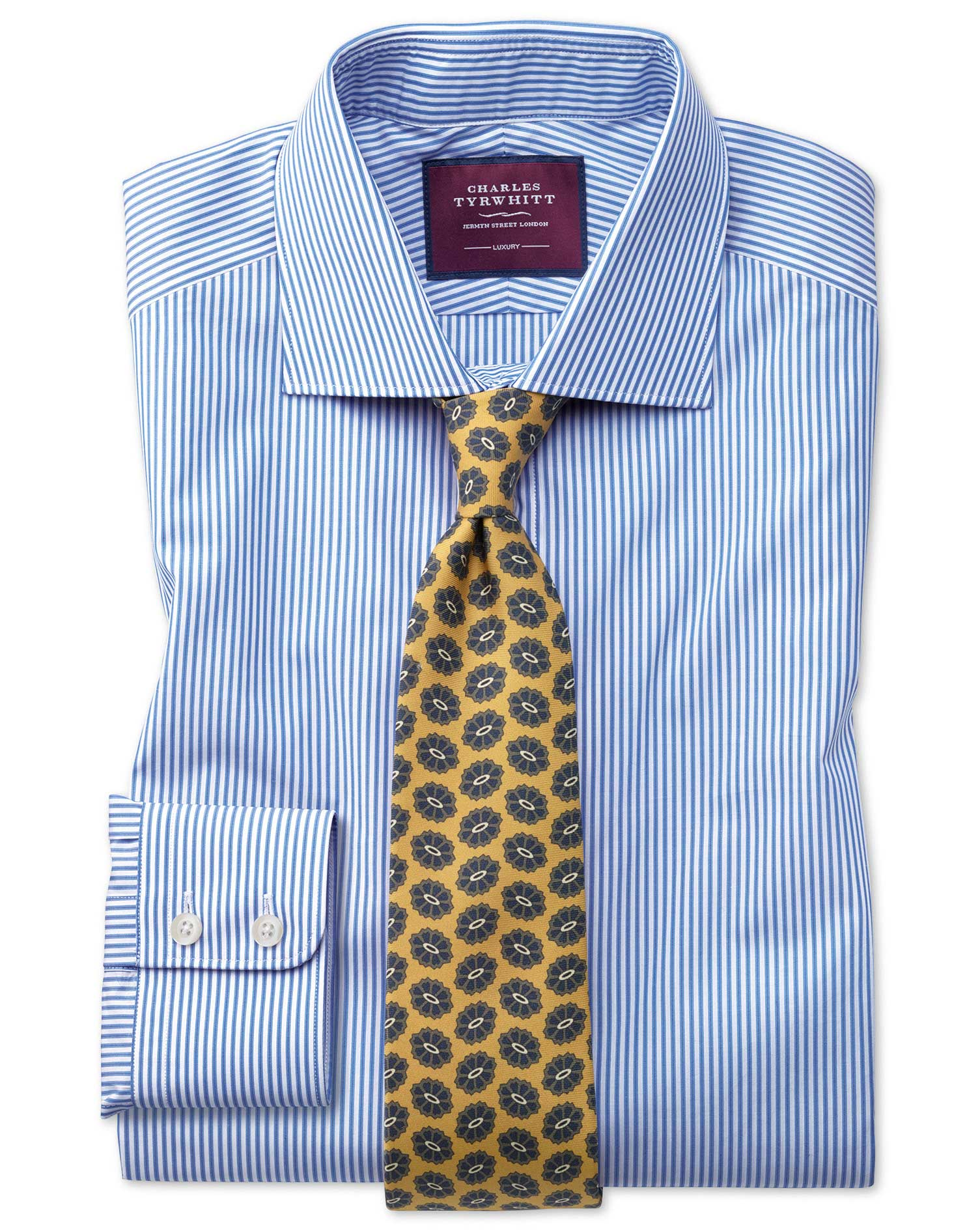 Classic Fit Blue Stripe Luxury Egyptian Cotton Formal Shirt Single Cuff Size 15.5/35 by Charles Tyrw