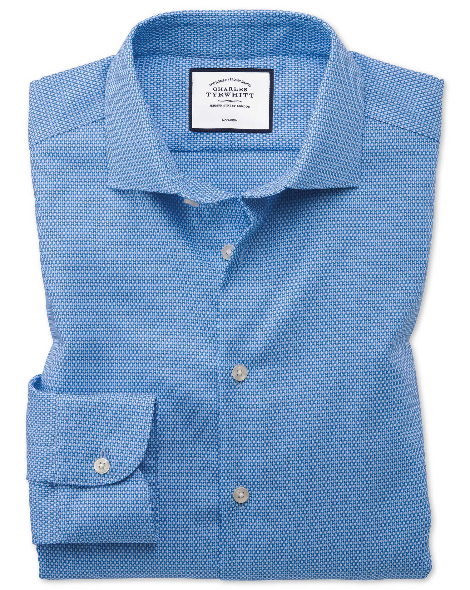 Slim Fit Business Casual Non-Iron Modern Textures Sky Blue Cotton Formal Shirt Single Cuff Size 16.5