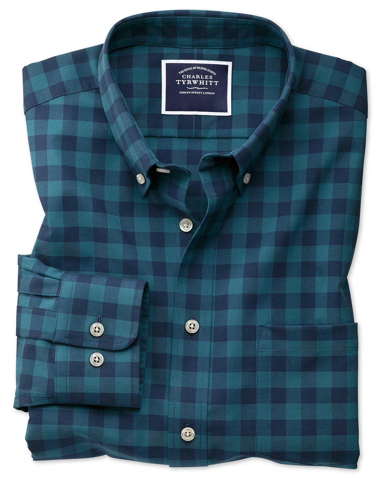 classic fit non-iron button-down teal gingham twill cotton casual shirt single cuff size medium by charles tyrwhitt
