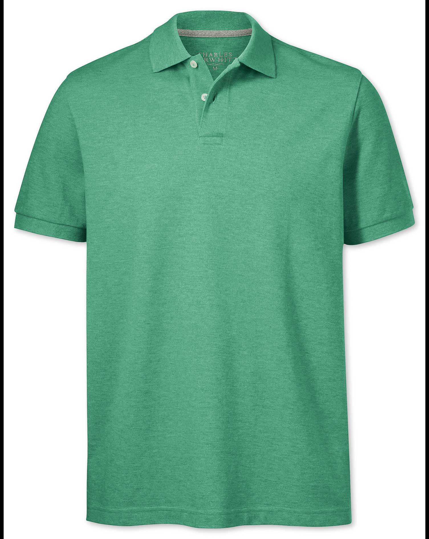 Light Green Pique Cotton Polo Size Large by Charles Tyrwhitt