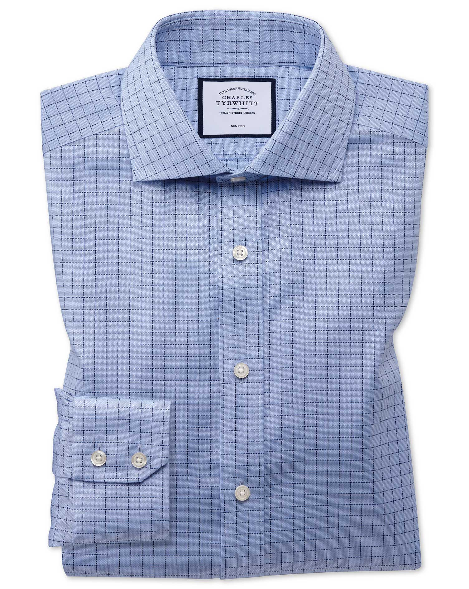 Slim Fit Non-Iron Cotton Stretch Oxford Grid Check Blue Formal Shirt Single Cuff Size 17/37 by Charl