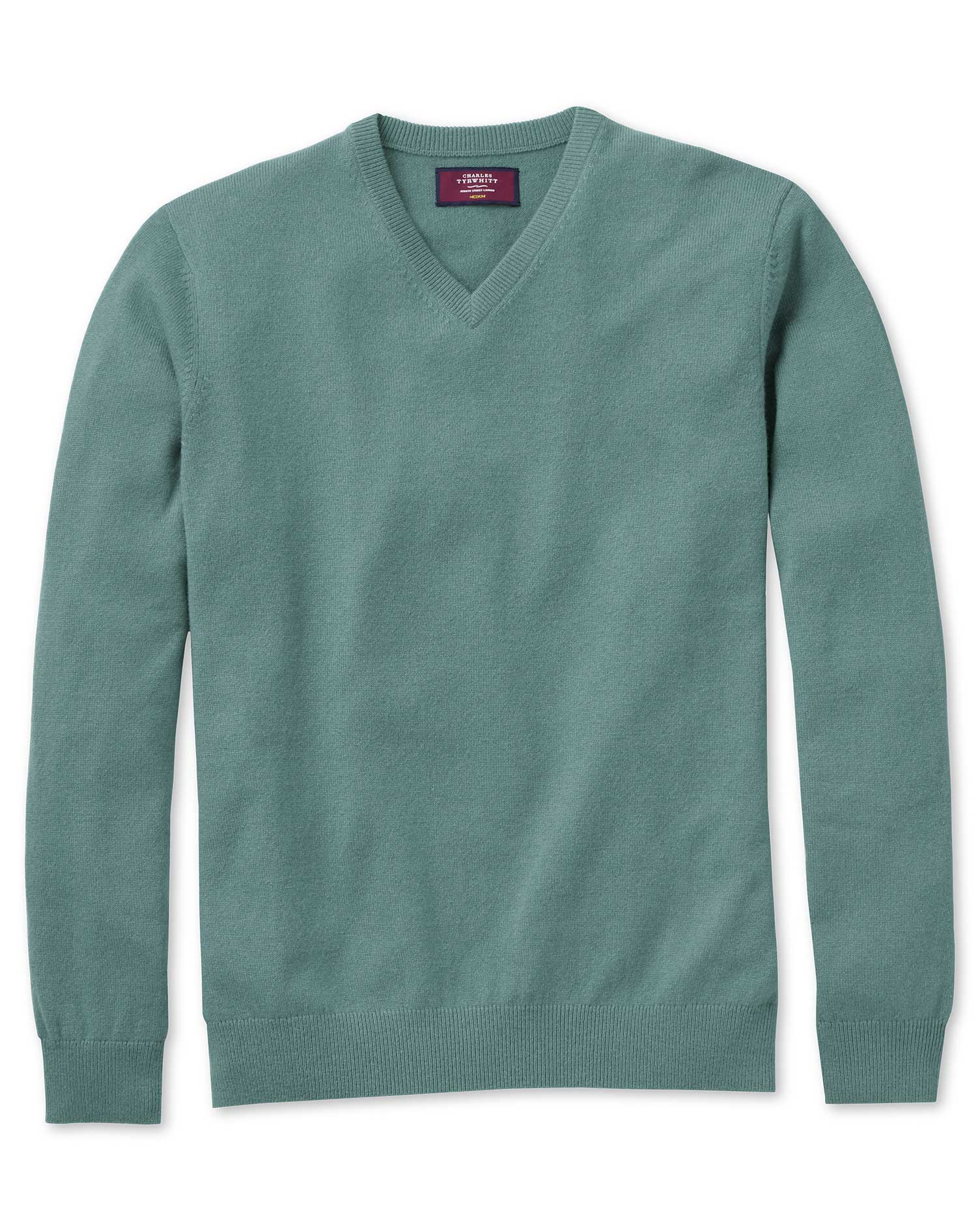 Light Green Cashmere V-Neck Jumper Size XL by Charles Tyrwhitt