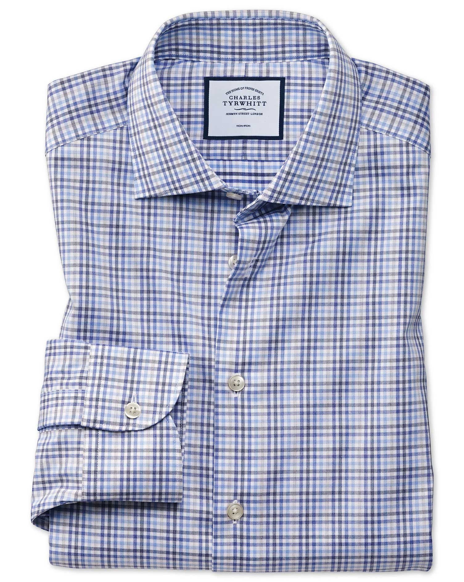 Slim Fit Business Casual Non-Iron Blue and Grey Check Cotton Formal Shirt Single Cuff Size 15.5/37 b