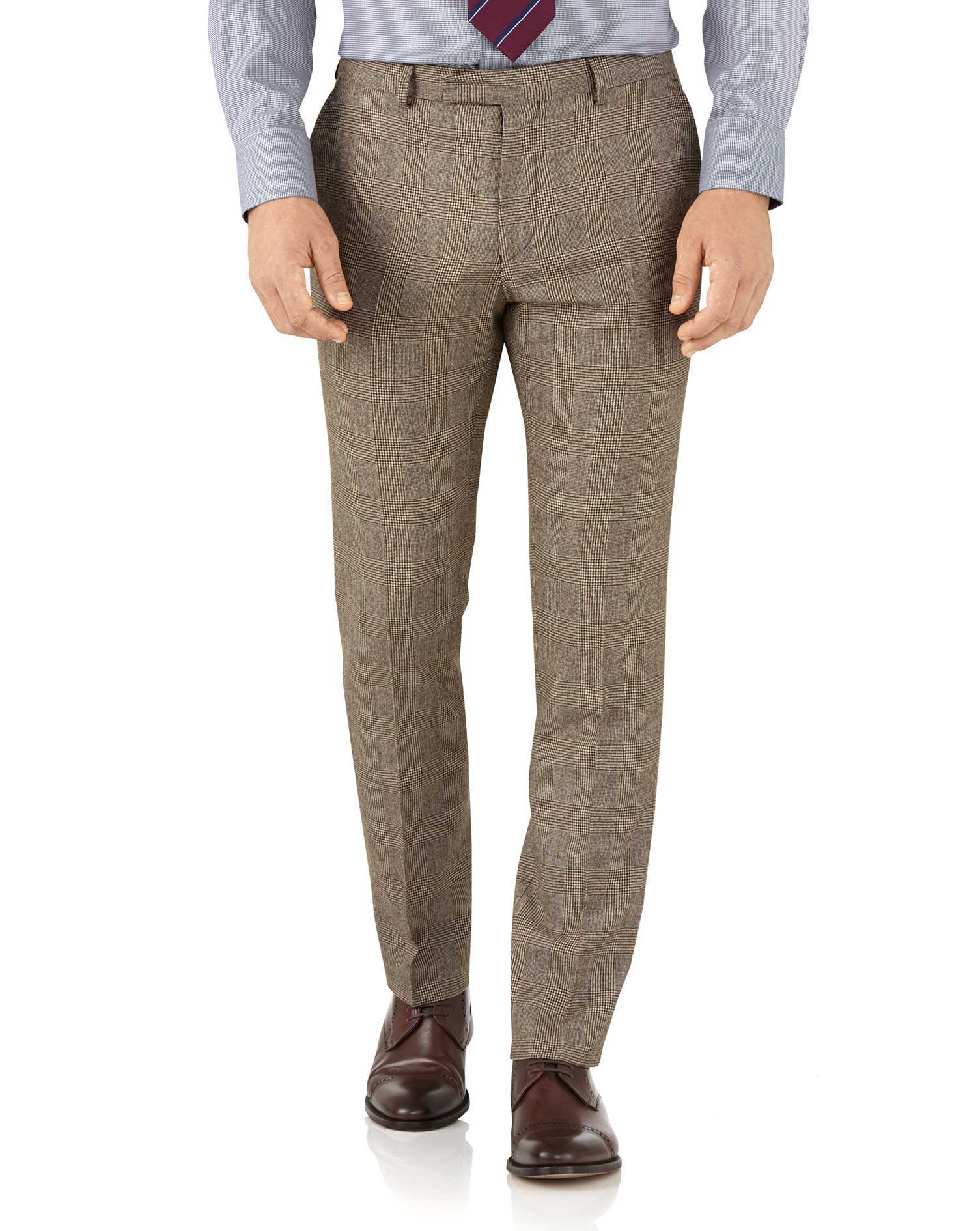Tan Check Slim Fit British Serge Luxury Suit Trousers Size W38 L34 by Charles Tyrwhitt