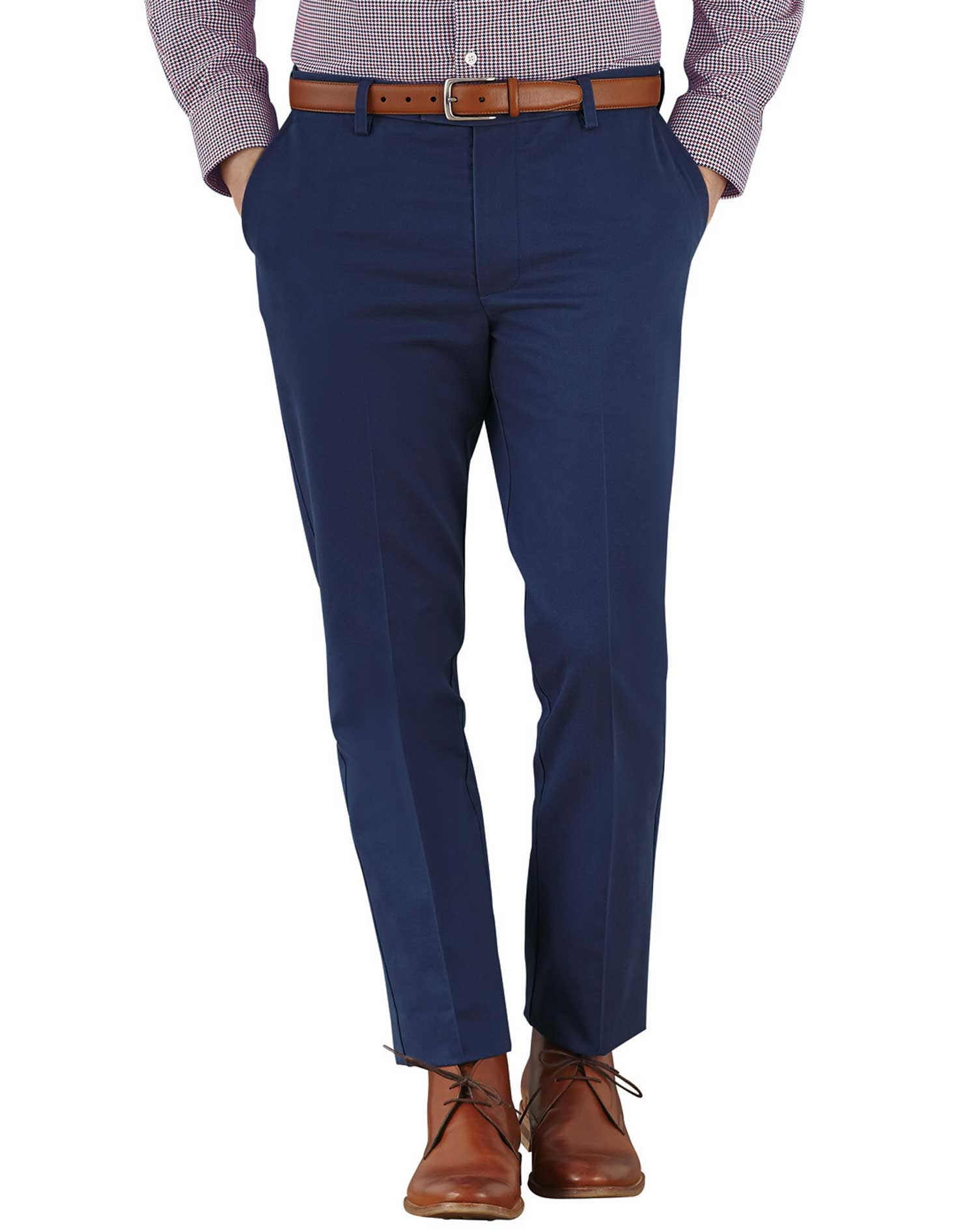Marine Blue Extra Slim Fit Flat Front Non-Iron Cotton Chino Trousers Size W32 L38 by Charles Tyrwhit