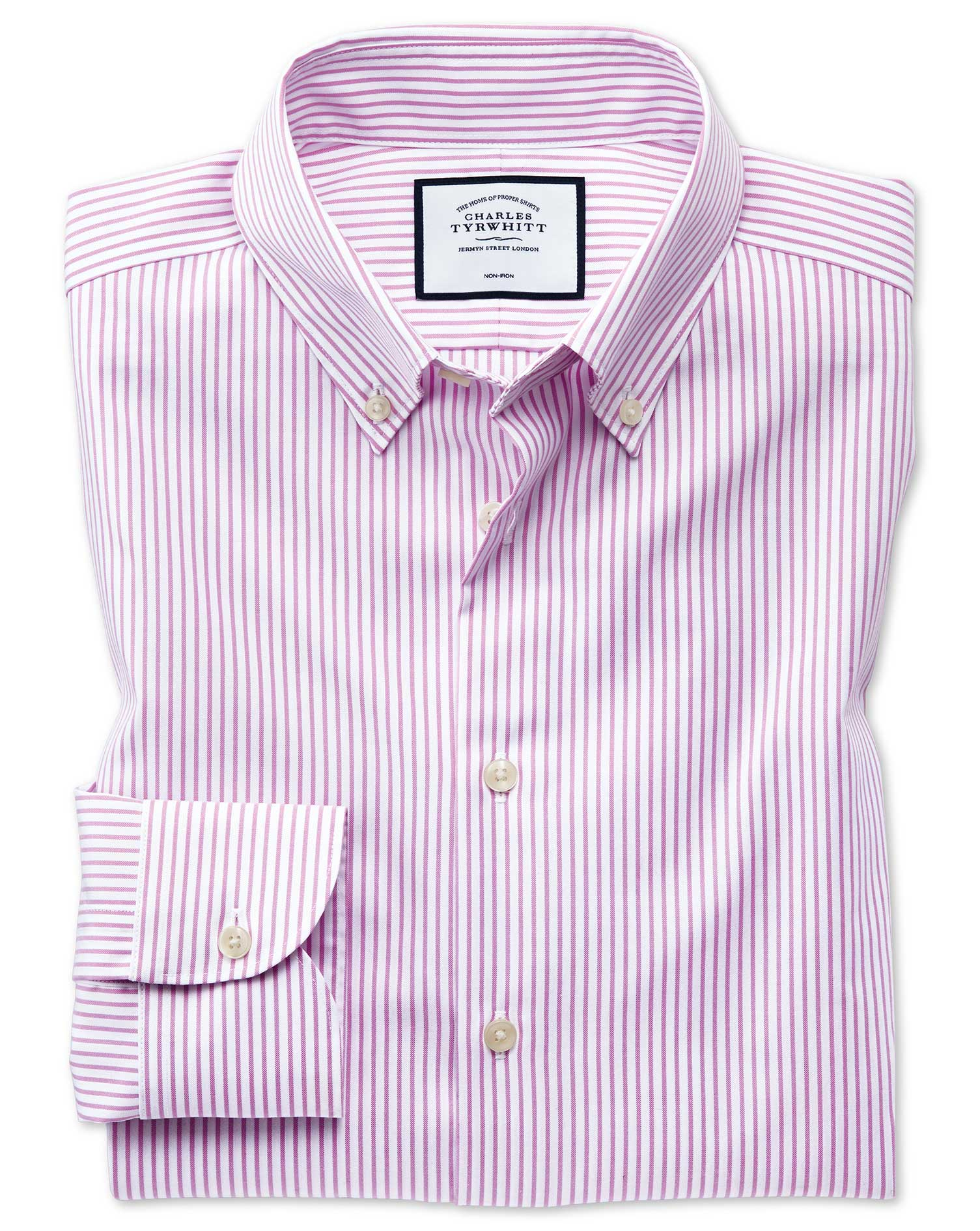 Slim Fit Business Casual Non-Iron Button-Down Pink Stripe Cotton Formal Shirt Single Cuff Size 15.5/