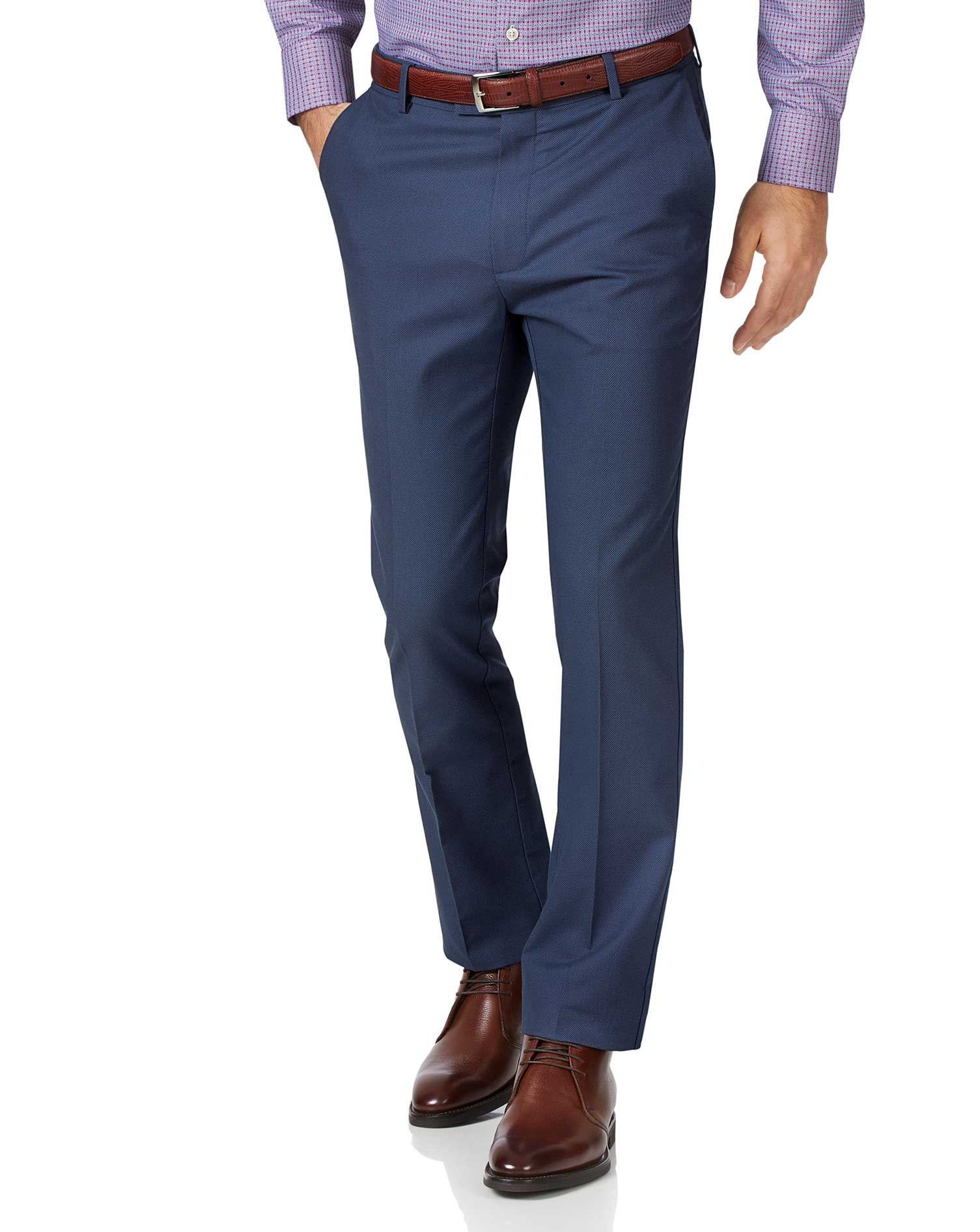 Blue Slim Fit Stretch Non-Iron Trousers Size W32 L34 by Charles Tyrwhitt