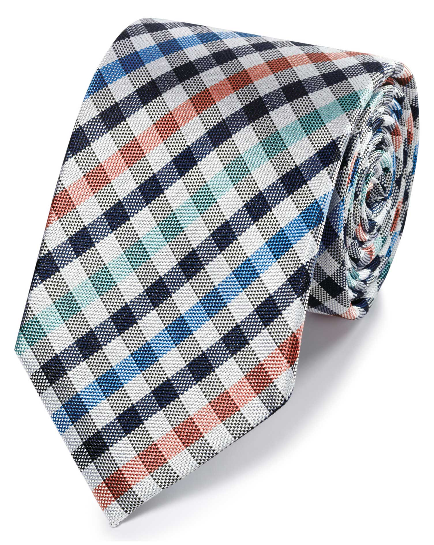 0d28678fe1ea Coral and green gingham check classic tie | Charles Tyrwhitt