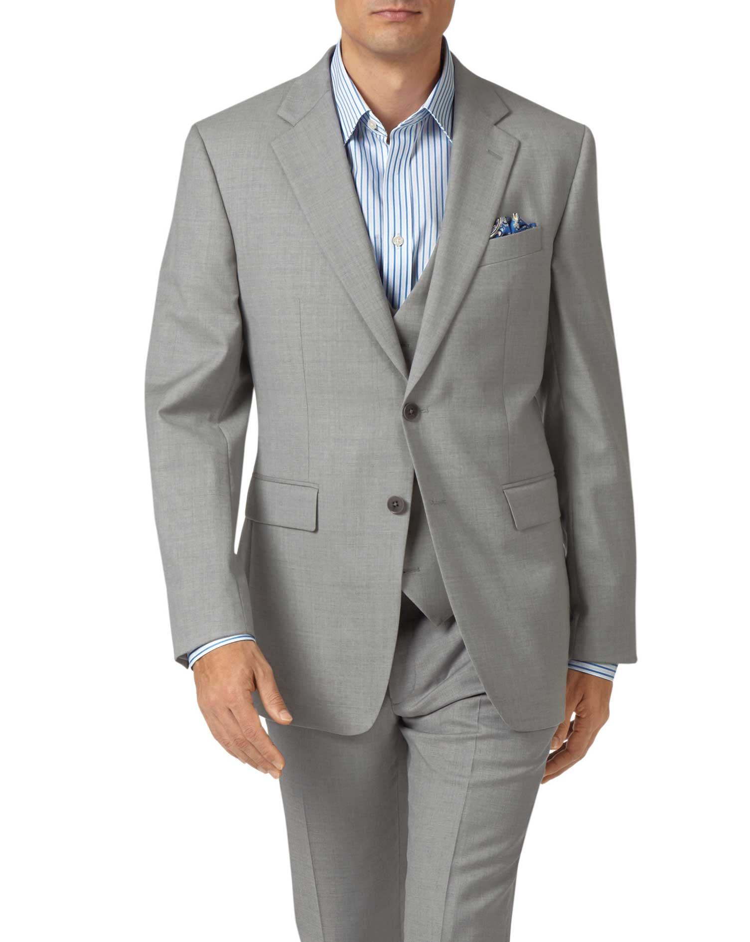 Light grey slim fit twill business suit jacket