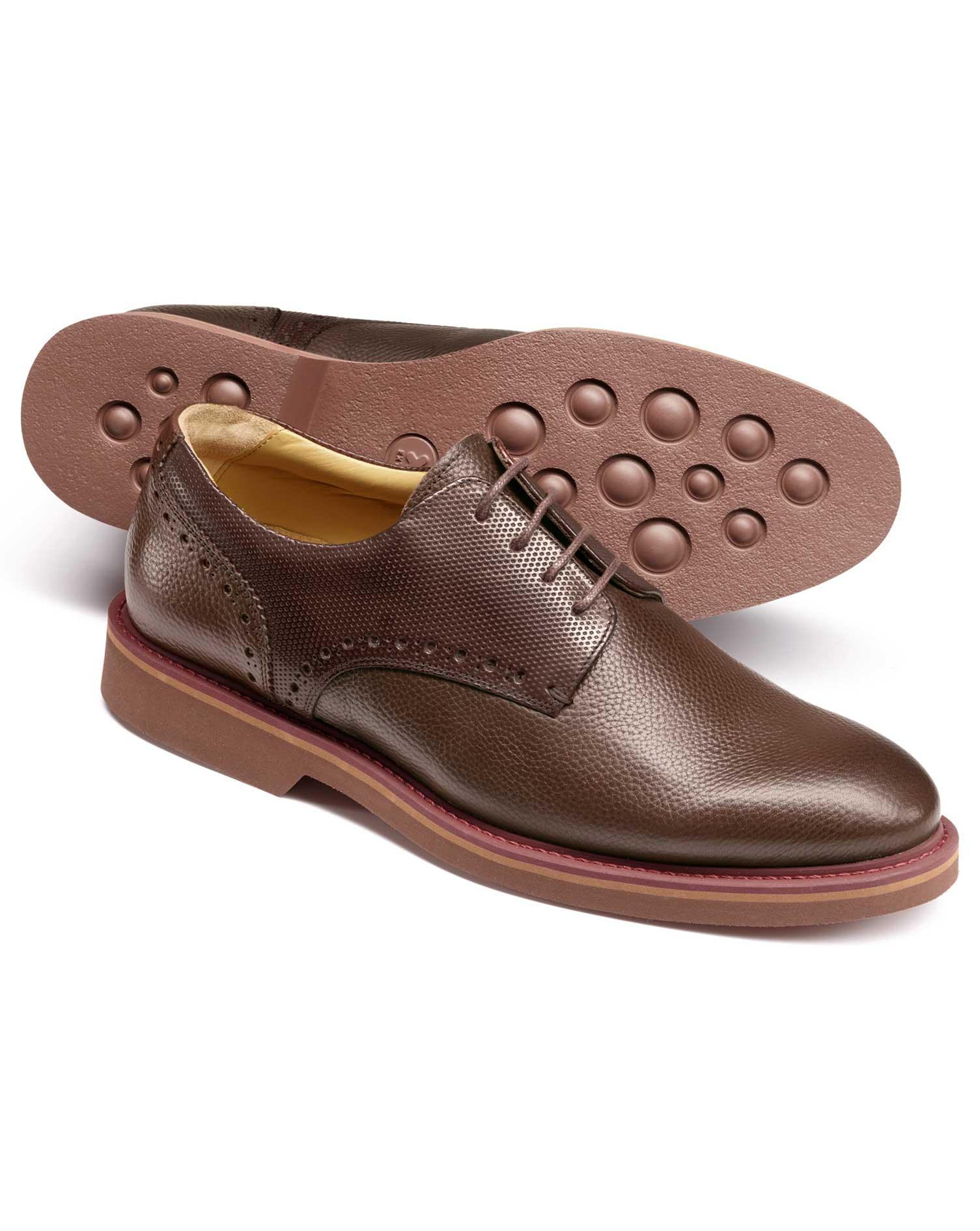 brown extra lightweight derby shoes size 12 by charles tyrwhitt
