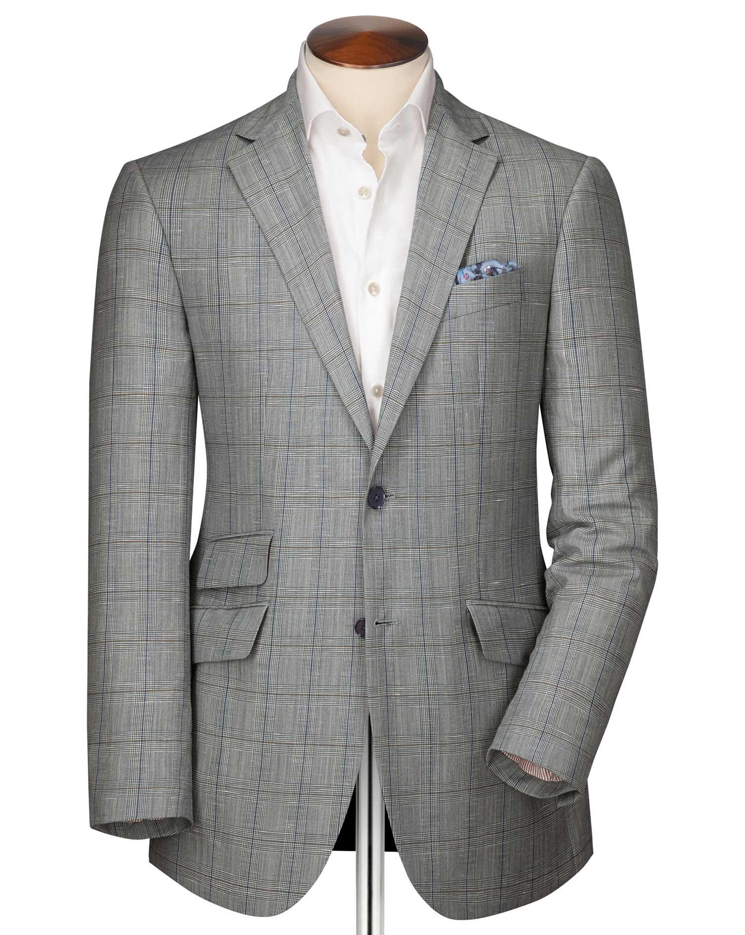Slim Fit Blue Checkered Linen Mix Linen Jacket Size 36 Regular by Charles Tyrwhitt