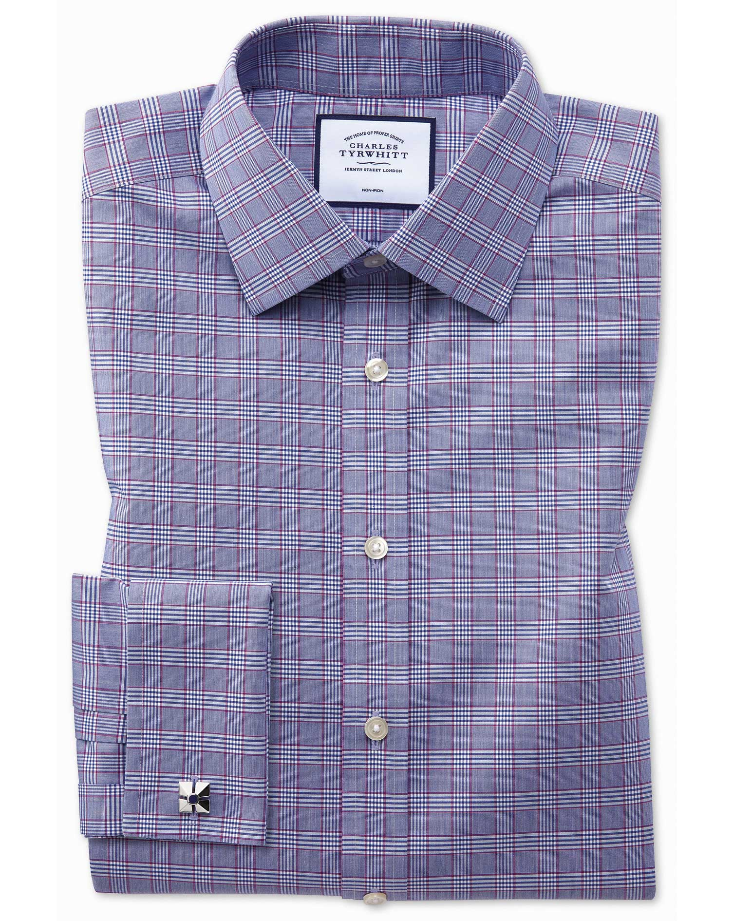 Classic Fit Non-Iron Berry and Navy Prince Of Wales Check Cotton Formal Shirt Double Cuff Size 16.5/