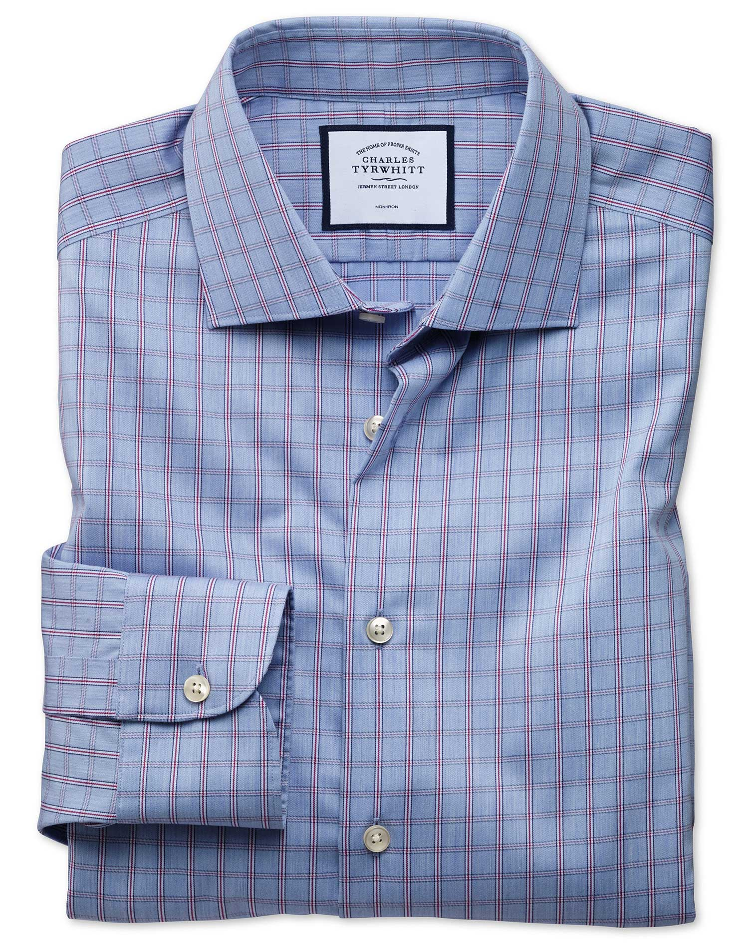 Slim Fit Business Casual Non-Iron Blue Windowpane Check Cotton Formal Shirt Single Cuff Size 17/36 b