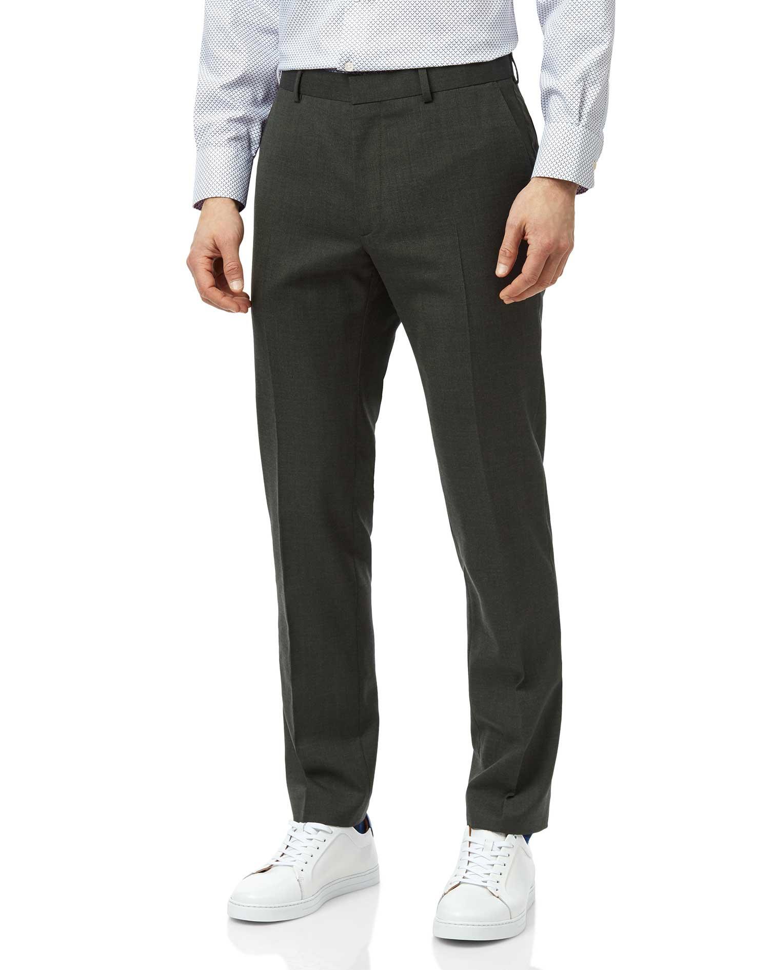 Wool Green Slim Fit Merino Business Suit Trousers