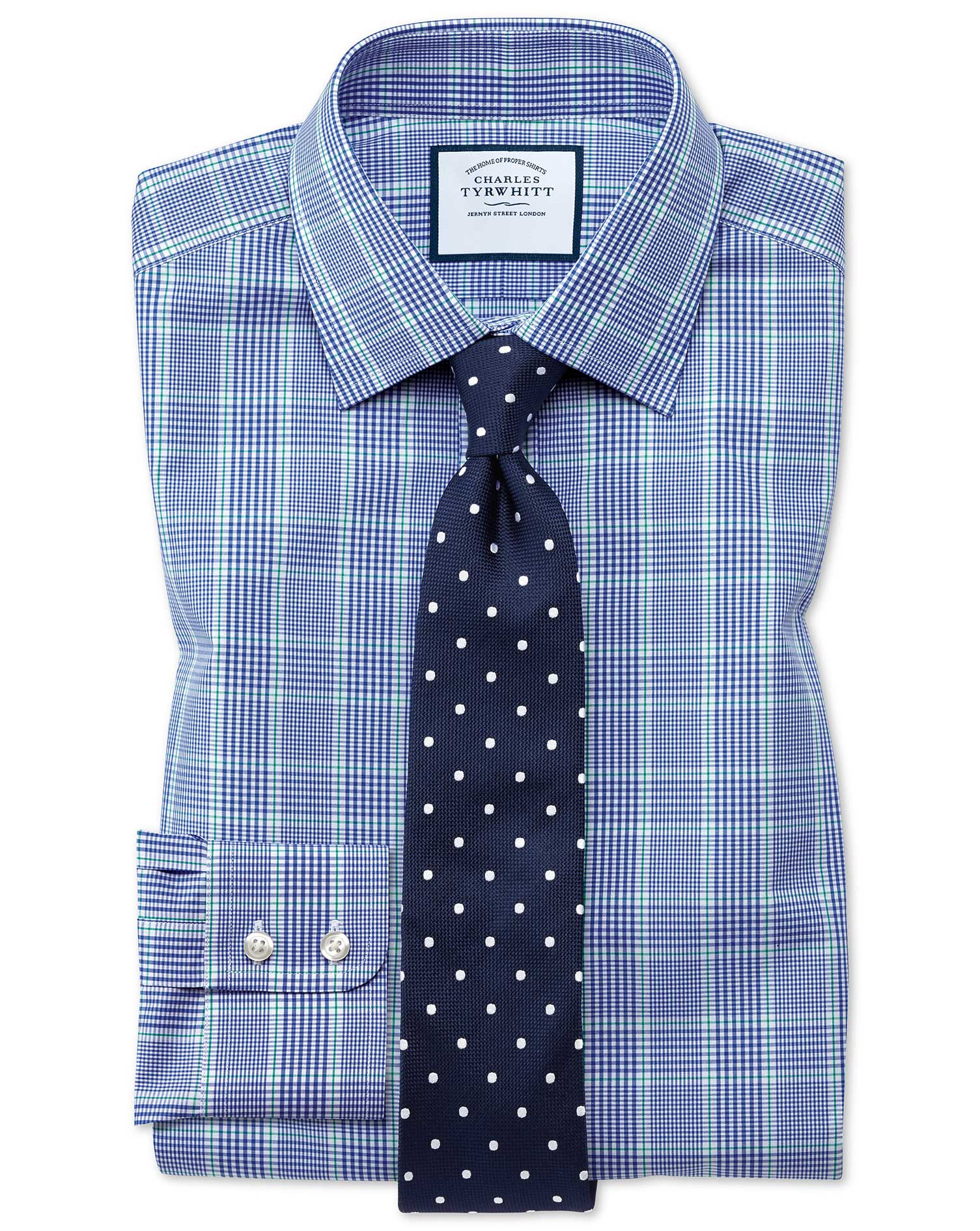 Extra Slim Fit Prince Of Wales Check Blue and Green Cotton Formal Shirt Single Cuff Size 16.5/33 by