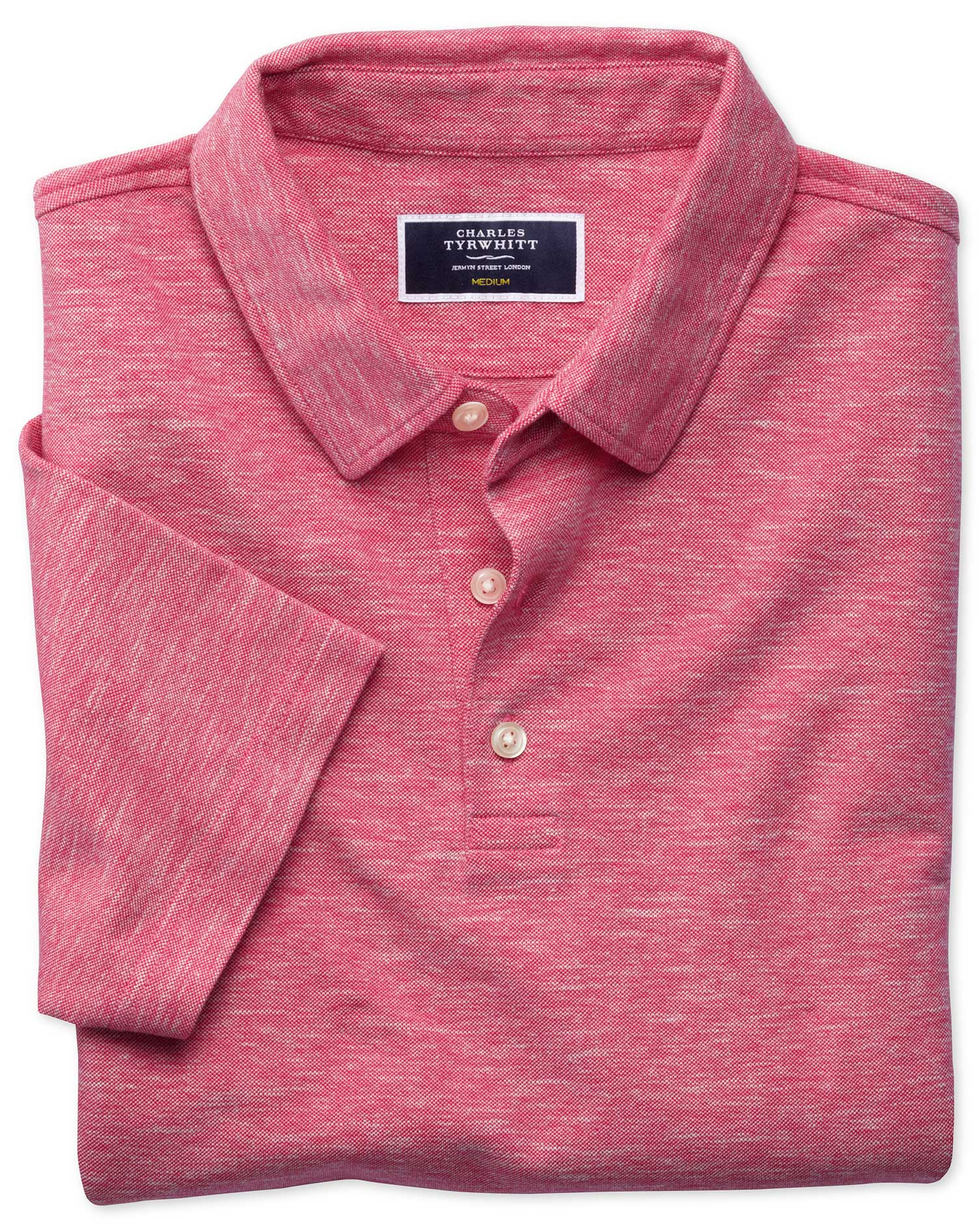Dark Pink Cotton Linen Polo Size XXL by Charles Tyrwhitt