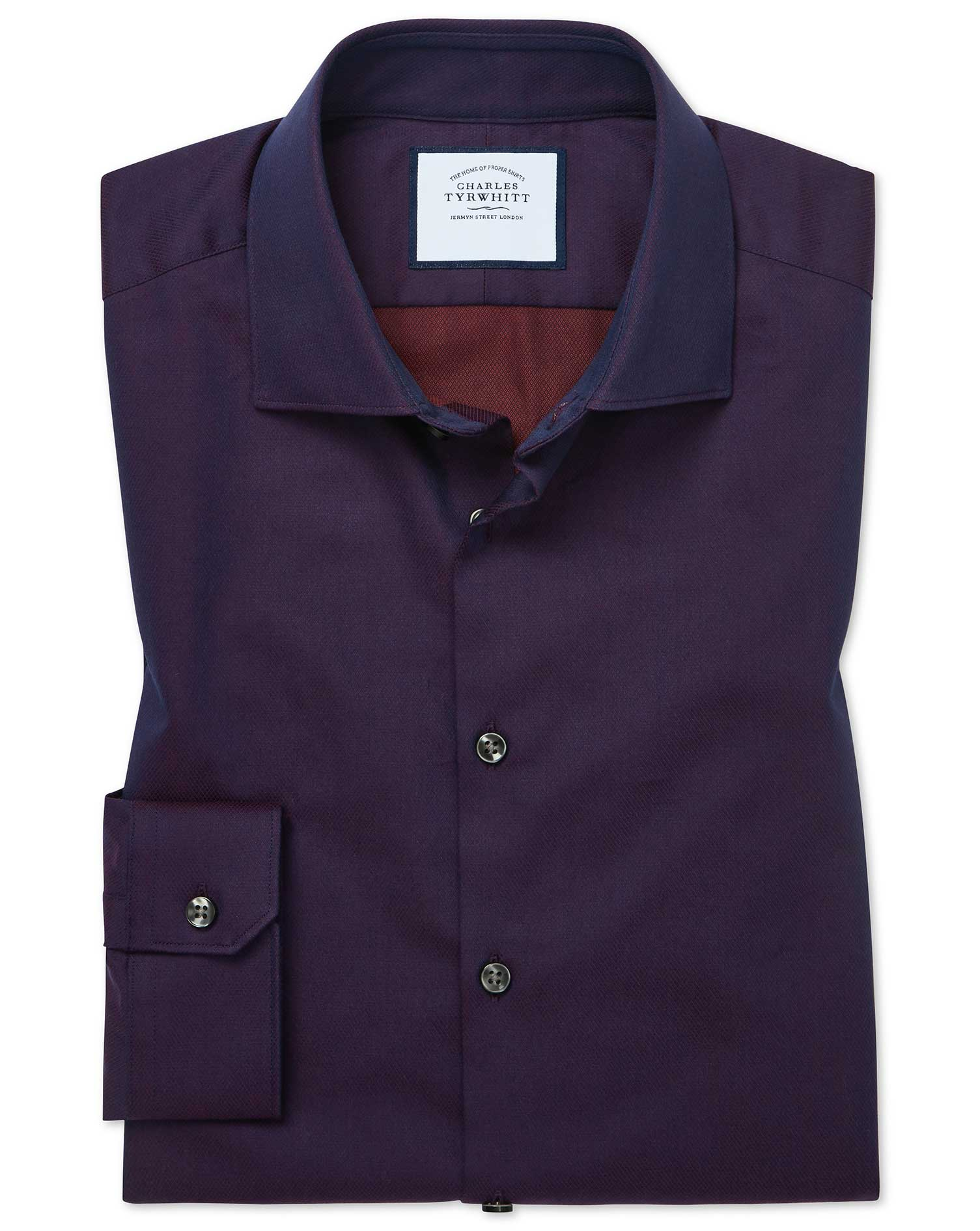 Cotton Super Slim Fit Micro Diamond Purple Shirt