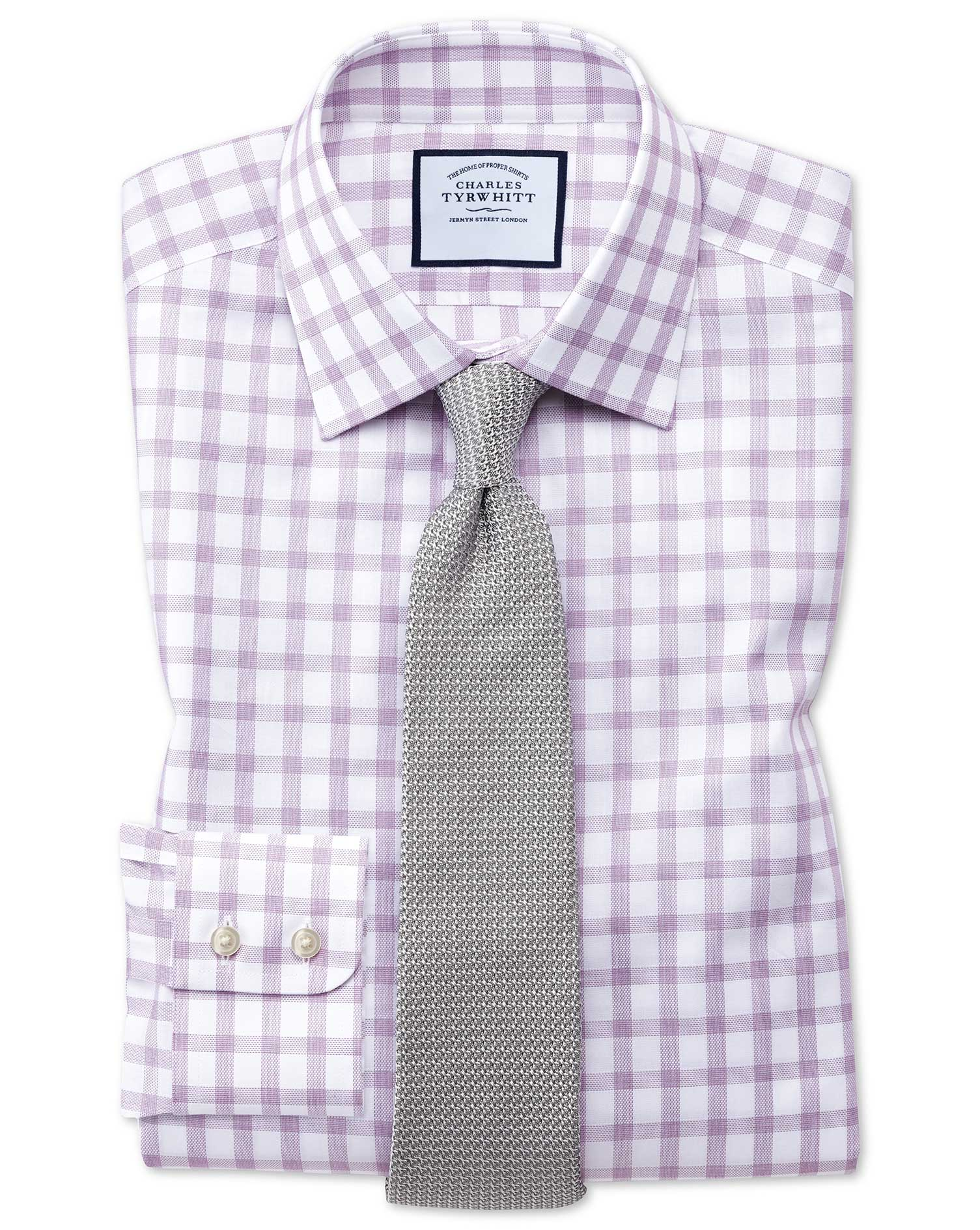 Classic Fit Windowpane Check Purple Cotton Formal Shirt Single Cuff Size 16/36 by Charles Tyrwhitt