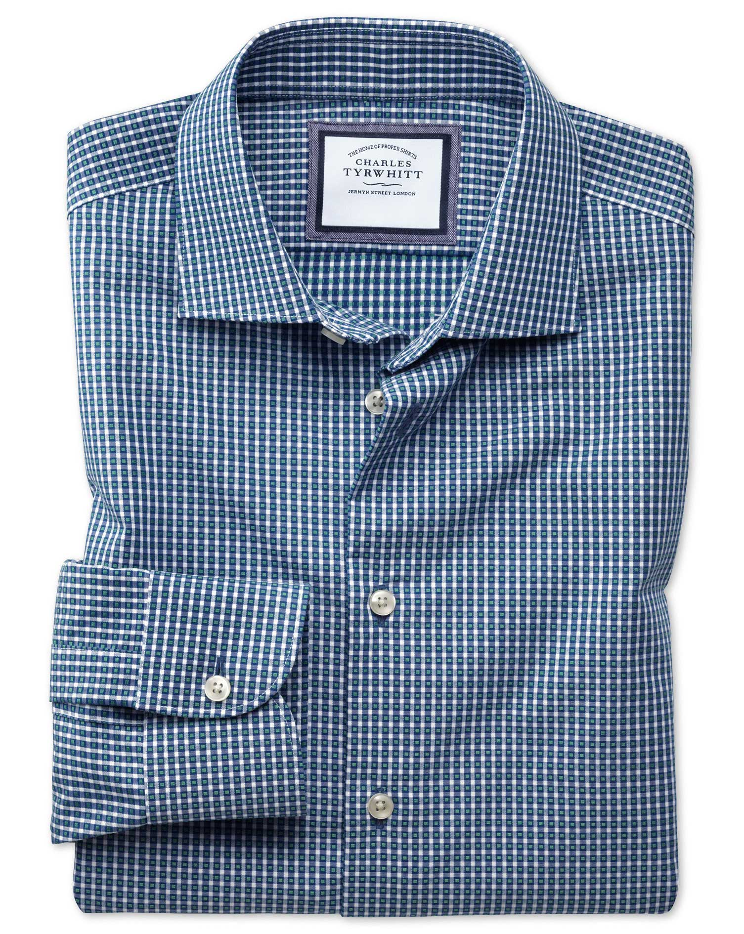 Classic Fit Semi-Cutaway Business Casual Non-Iron Modern Textures Navy Blue and Green Gingham Cotton
