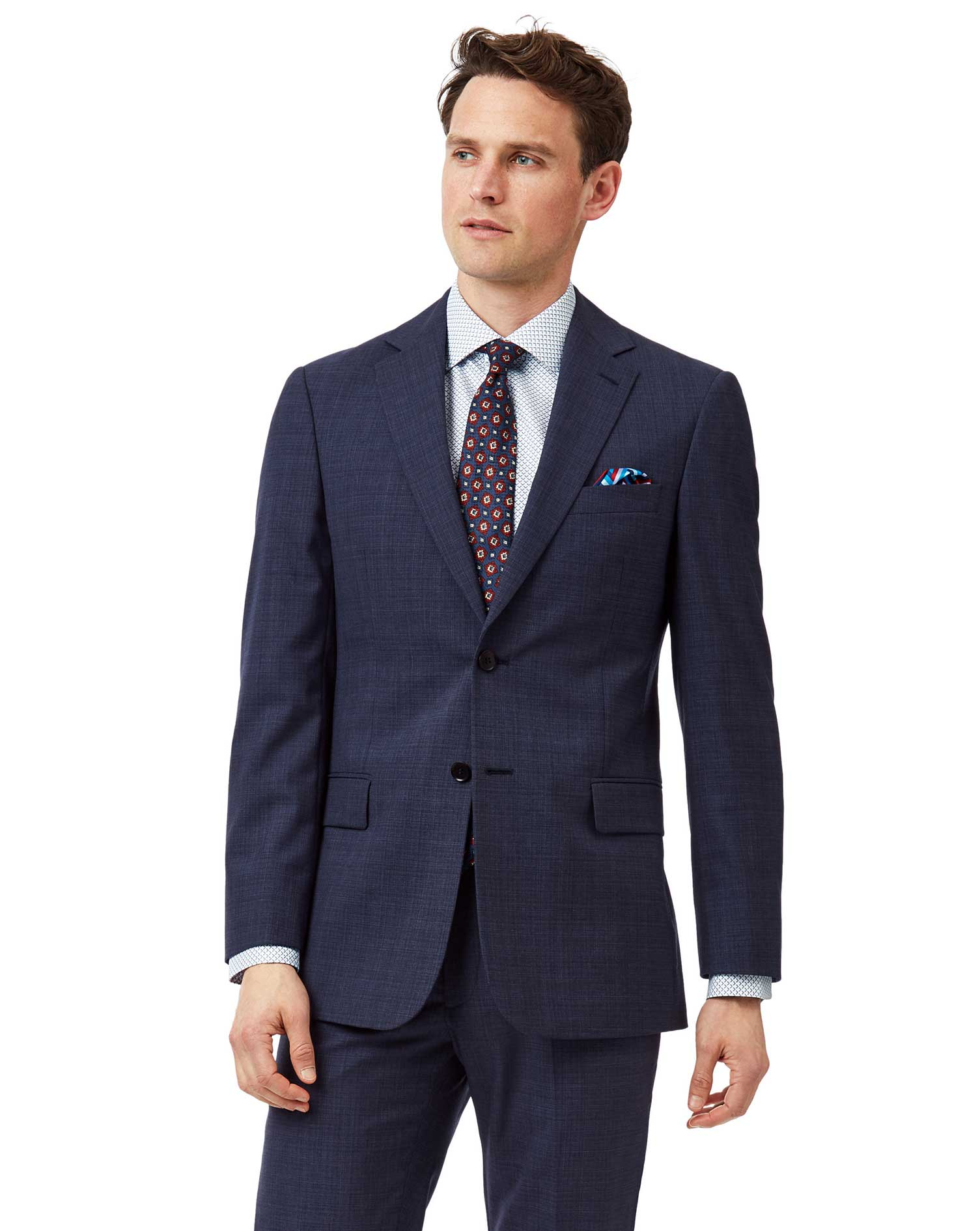 Airforce blue slim fit merino business suit jacket