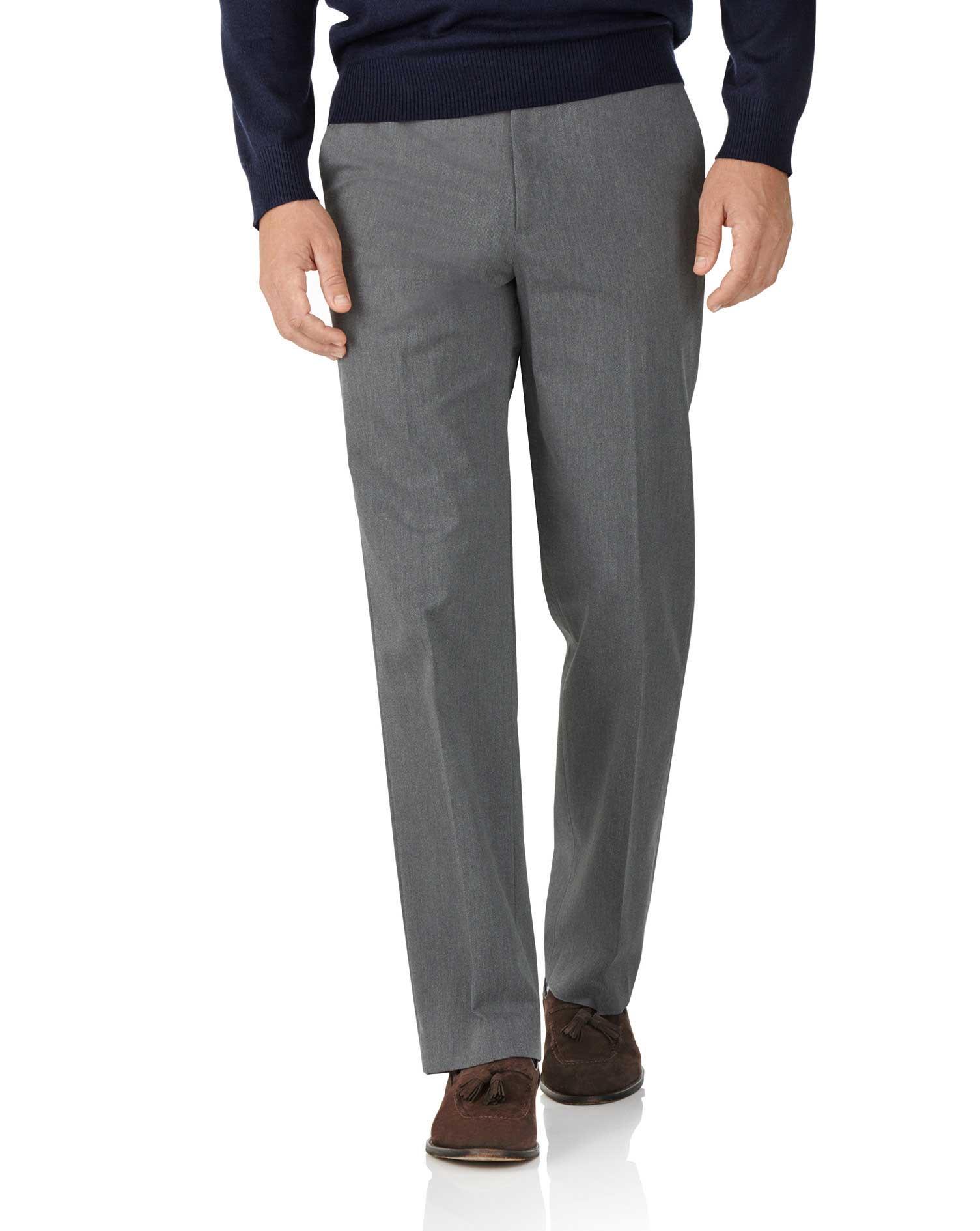 Light Grey Classic Fit Stretch Cavalry Twill Trousers Size W32 L34 by Charles Tyrwhitt
