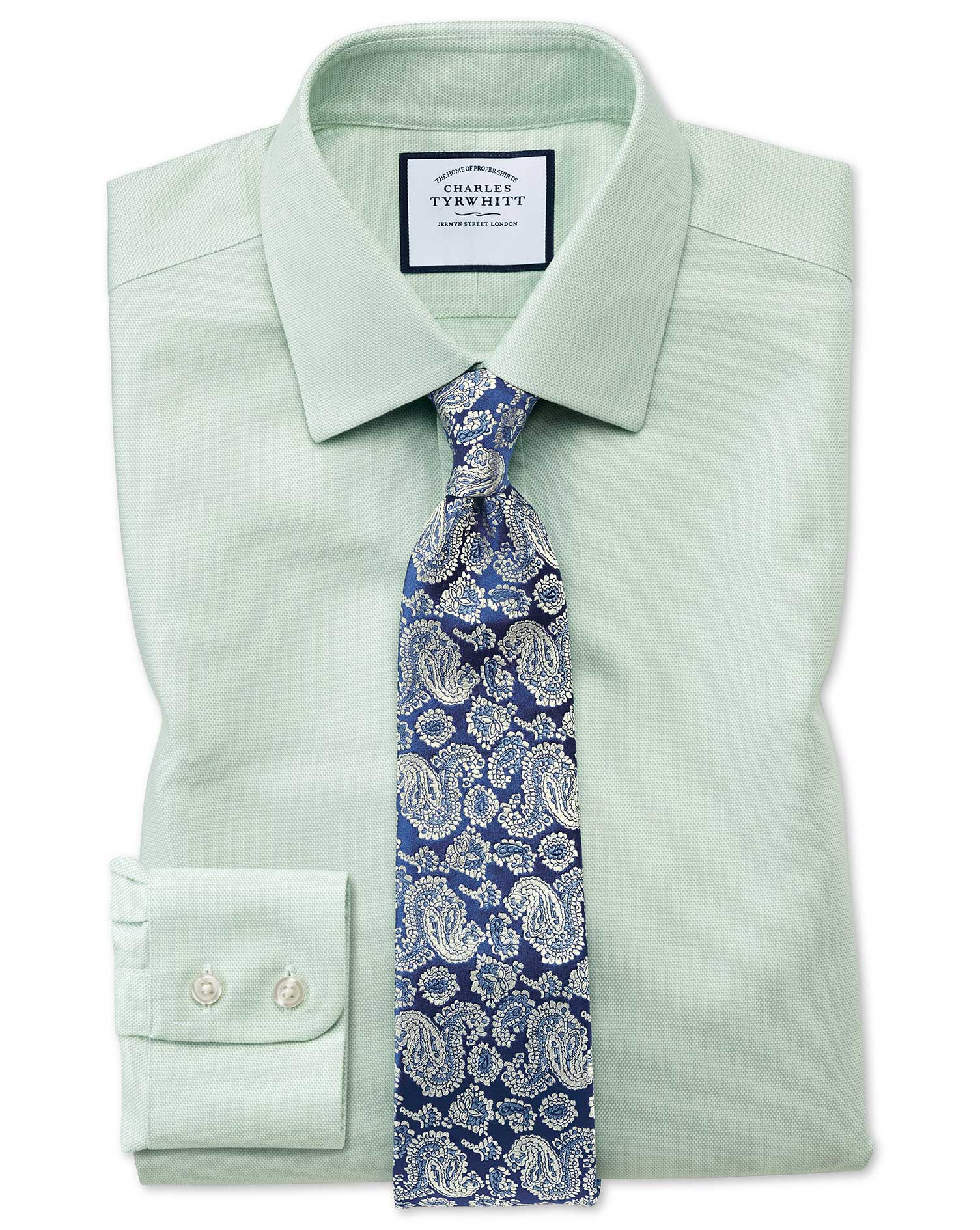 Slim fit non iron step weave green shirt charles tyrwhitt for Slim fit non iron dress shirts