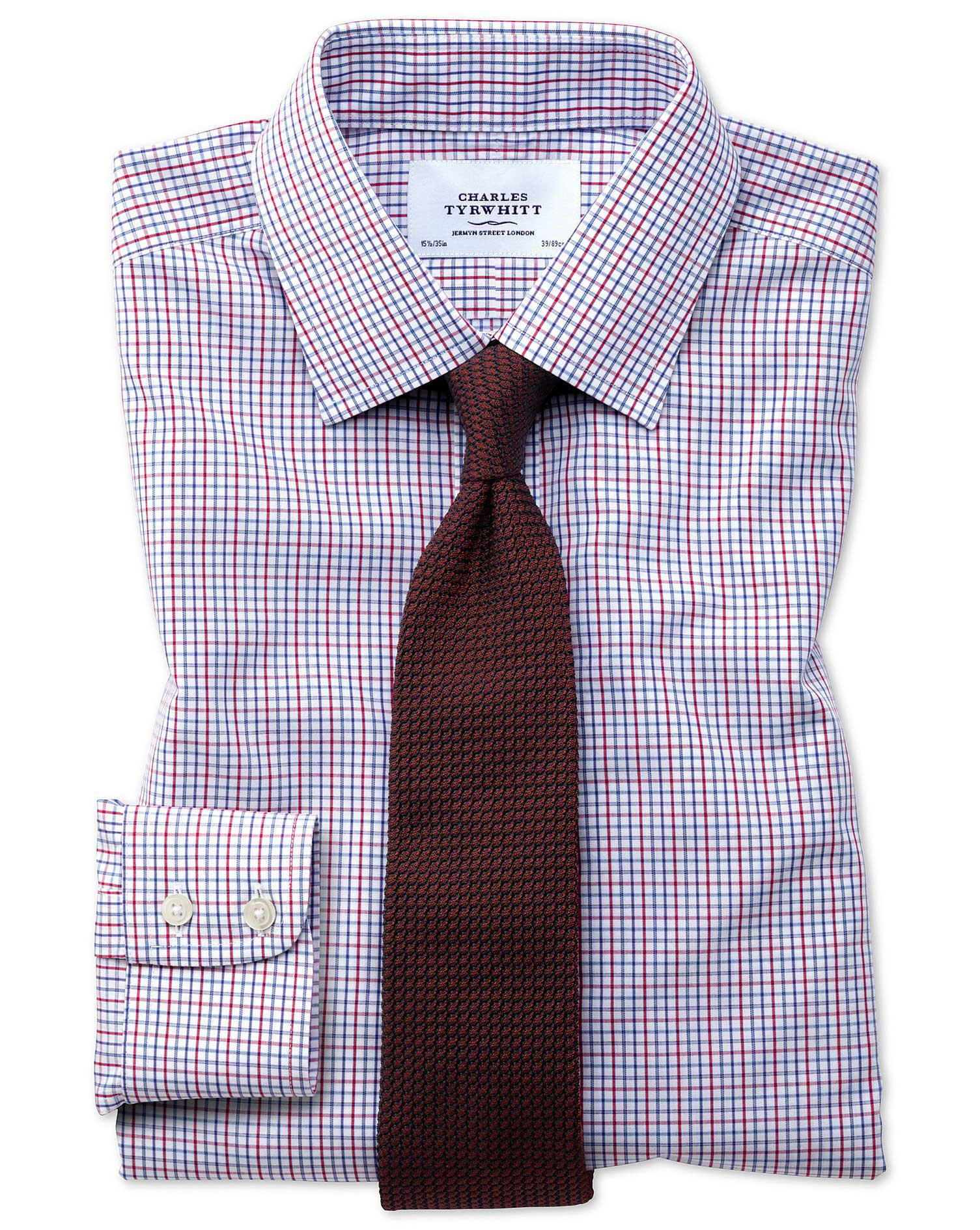 Extra slim fit non iron multi grid check shirt charles for Slim fit non iron shirts