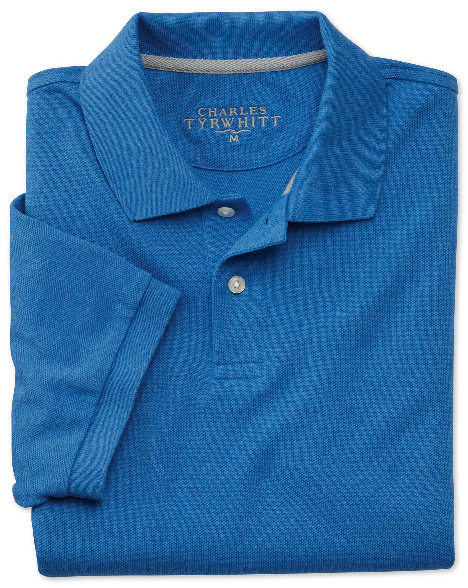 Blue Melange Pique Cotton Polo Size XS by Charles Tyrwhitt