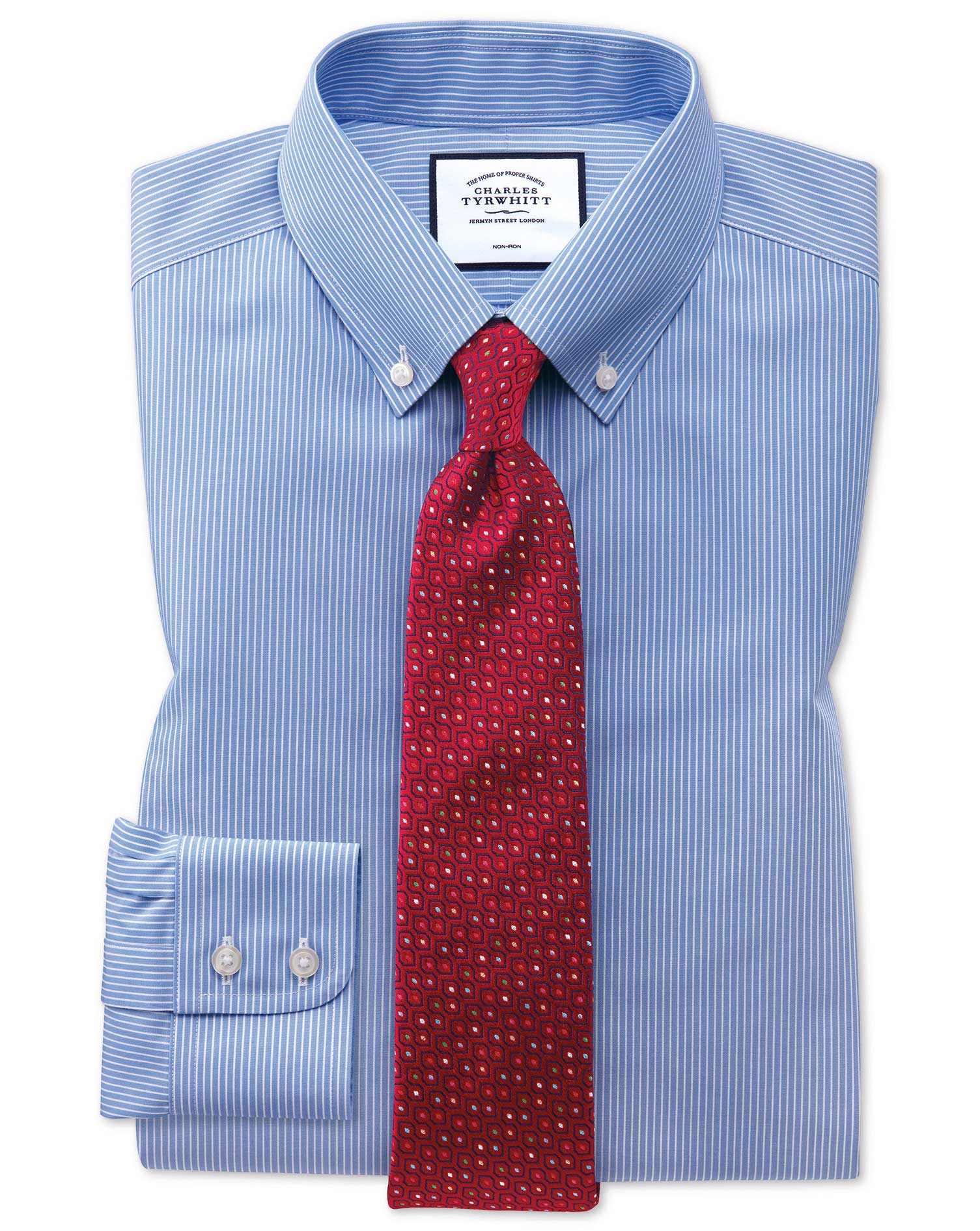 Slim Fit Button-Down Non-Iron Blue and White Stripe Cotton Formal Shirt Single Cuff Size 14.5/33 by