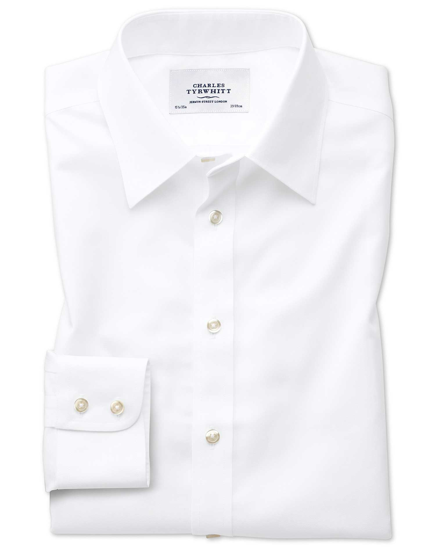 Slim Fit Forward Point Collar Non Iron Twill White Shirt