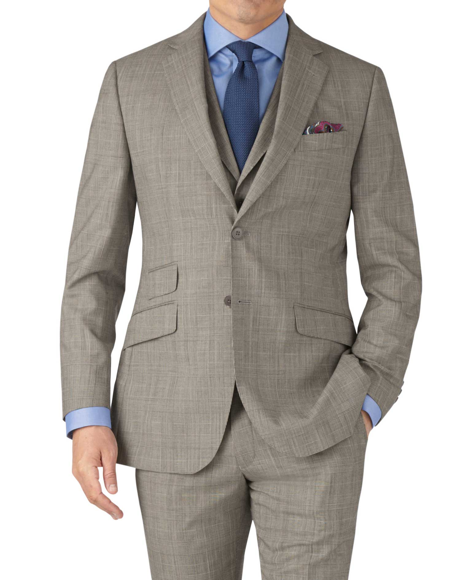 Grey Prince Of Wales Check Slim Fit Panama Business Suit Wool Jacket Size 36 Regular by Charles Tyrw