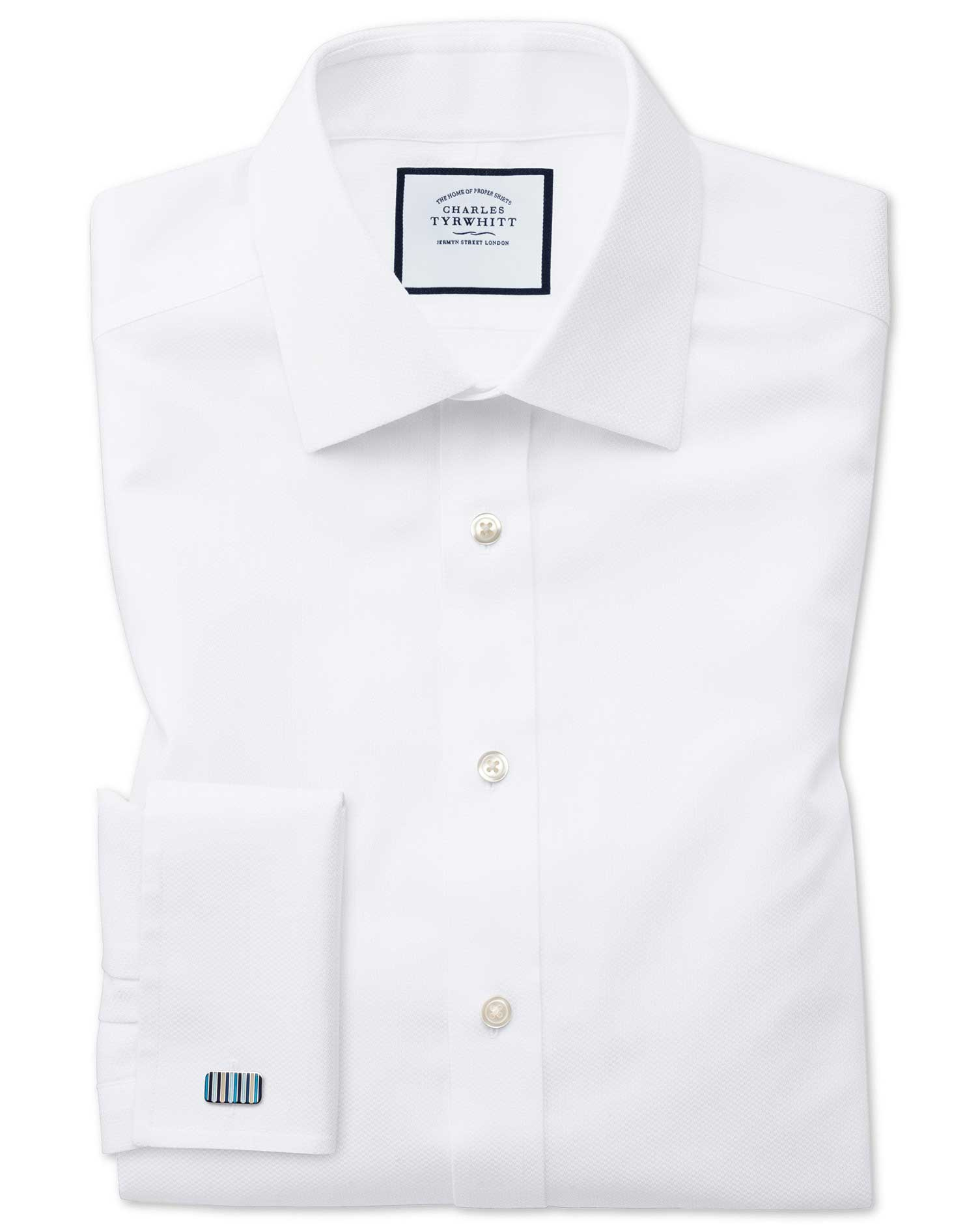 Extra Slim Fit Non-Iron White Arrow Weave Cotton Formal Shirt Double Cuff Size 15.5/32 by Charles Ty