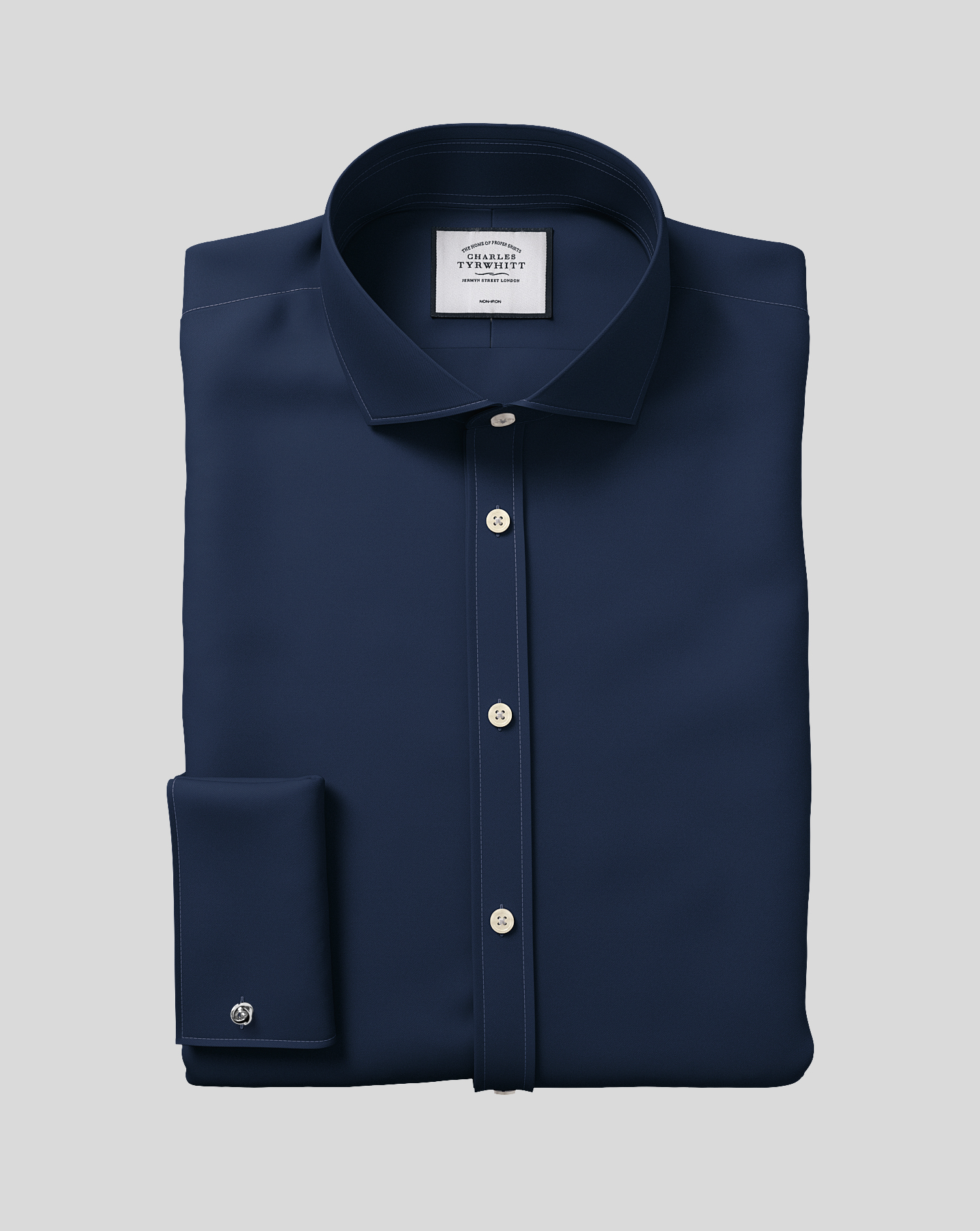 Extra Slim Fit Navy Non-Iron Twill Cotton Formal Shirt Single Cuff Size 16.5/34 by Charles Tyrwhitt