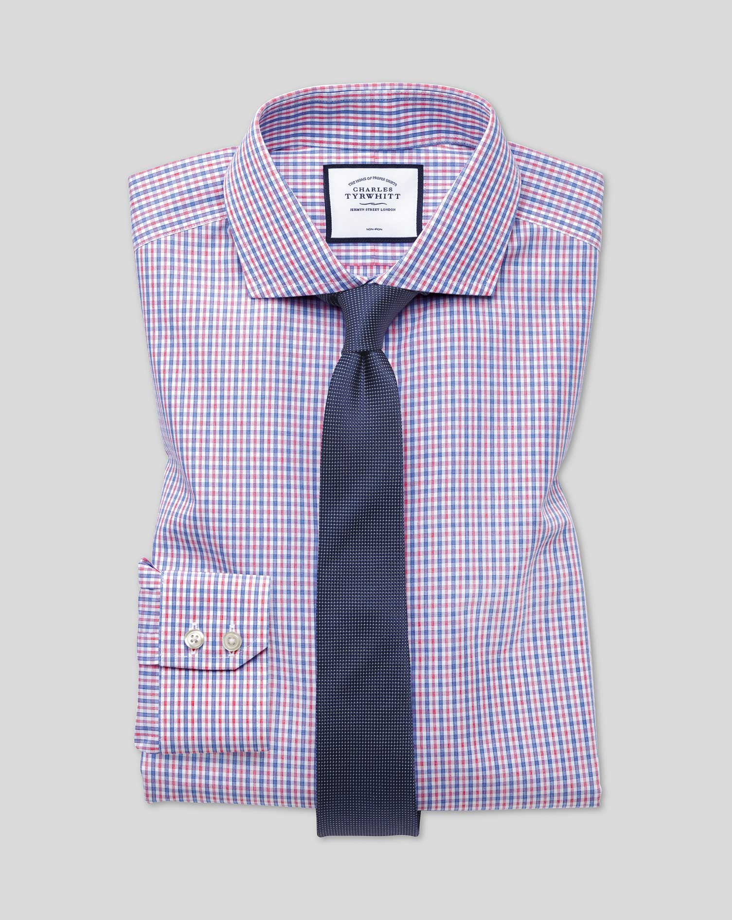 Cotton Extra Slim Fit Non-Iron Blue And Red Check Shirt