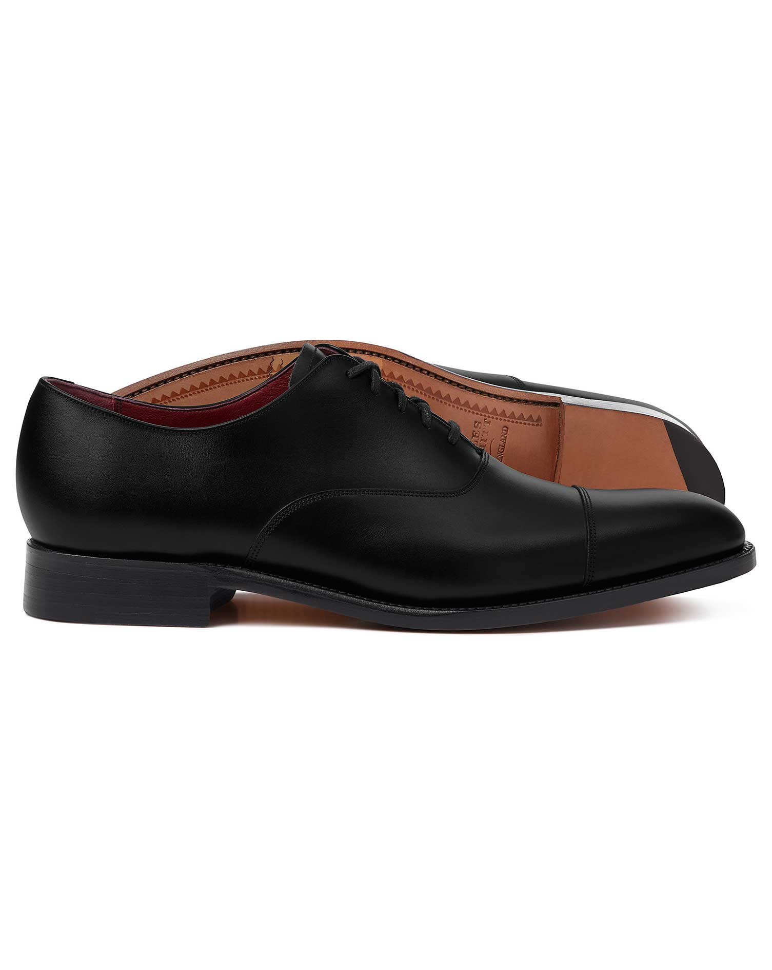 Black Made In England Oxford Flex Sole Shoes Size 7.5 W by Charles Tyrwhitt