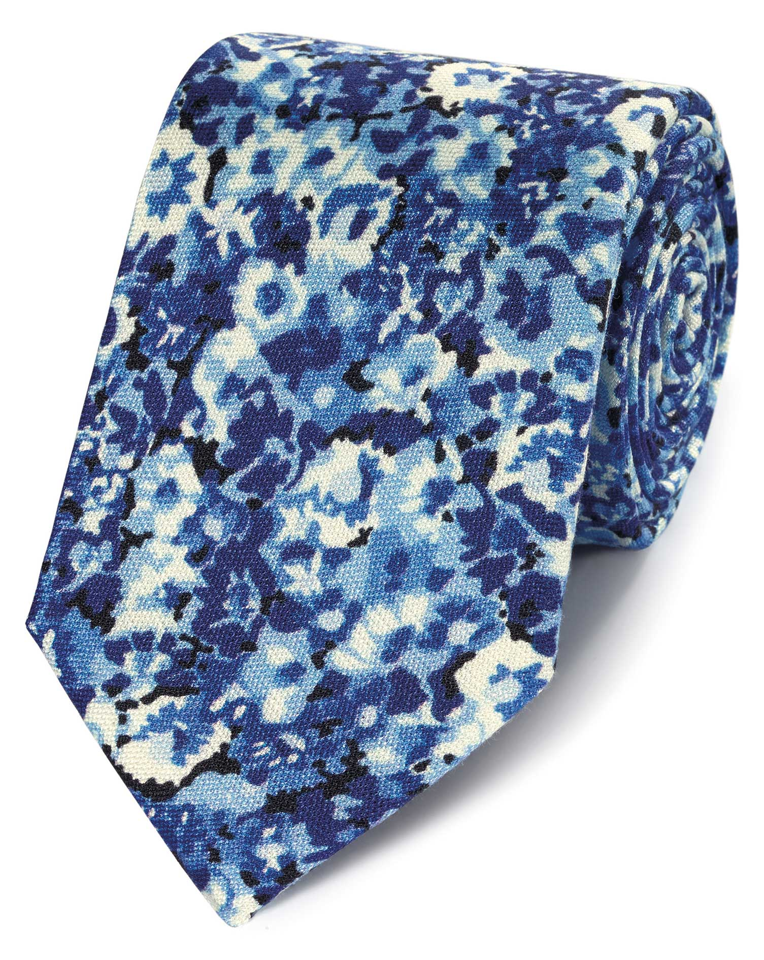 Blue Floral Cotton Silk Printed Classic Tie Size OSFA by Charles Tyrwhitt